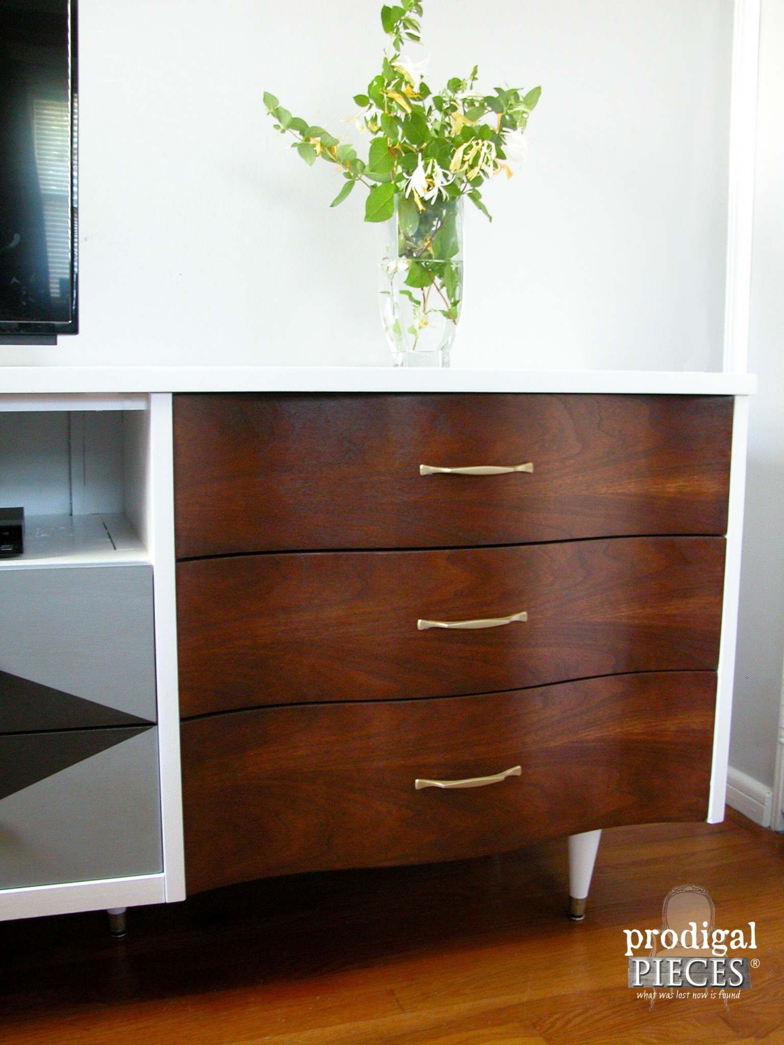 Early American Stained Drawer Fronts on Mid Century Console by Prodigal Pieces | www.prodigalpieces.com