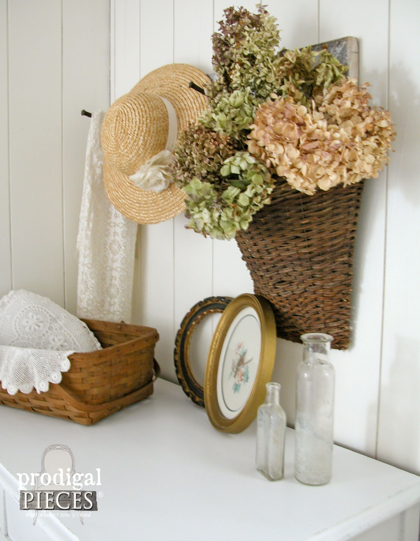 Simple Farmhouse Vignette with Flea Market Finds and Dried Hydrangeas by Prodigal Pieces | www.prodigalpieces.com