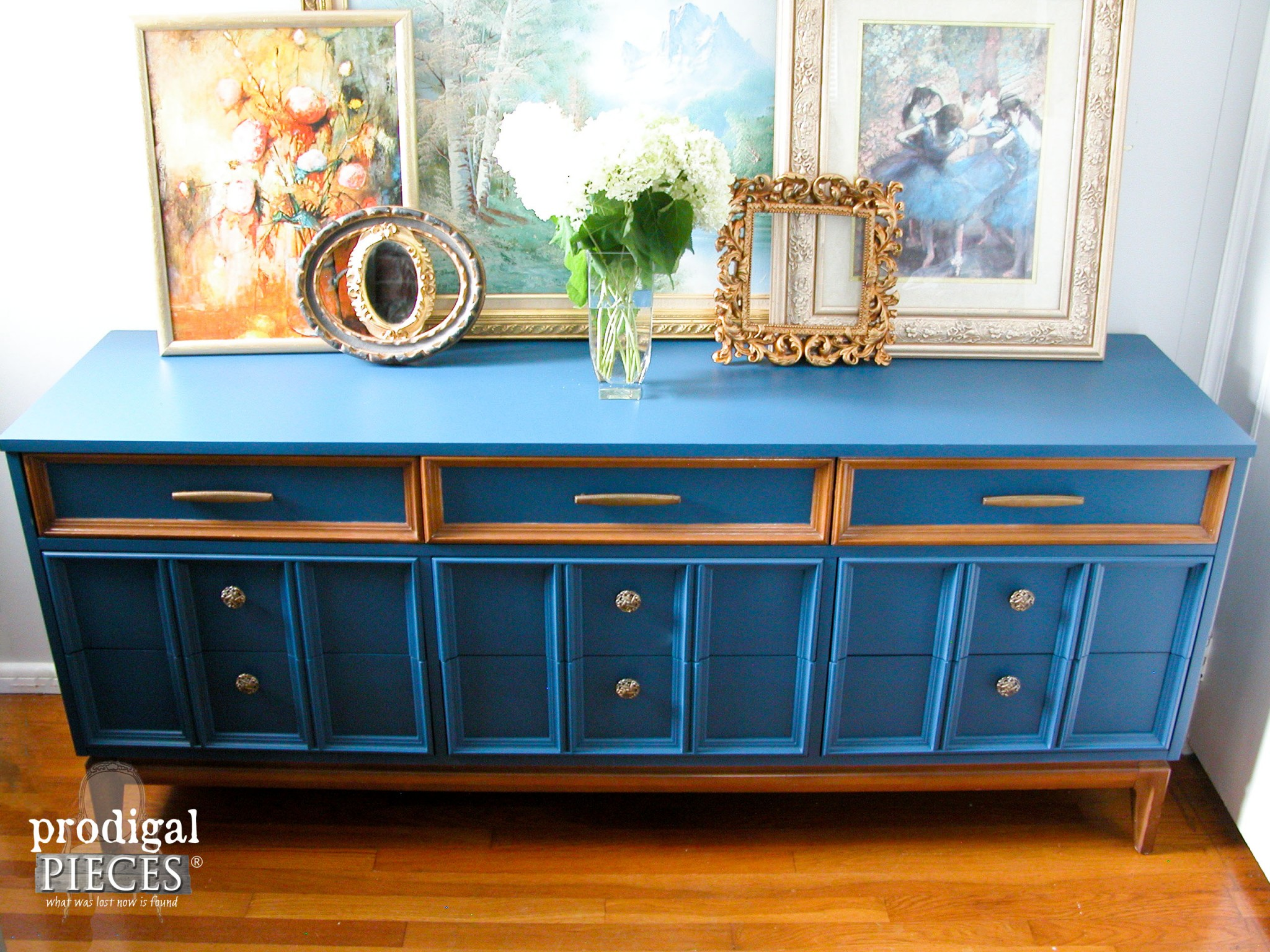 Top View of Factory Finish on Blue Dixie Credenza by Prodigal Pieces | www.prodigalpieces.com