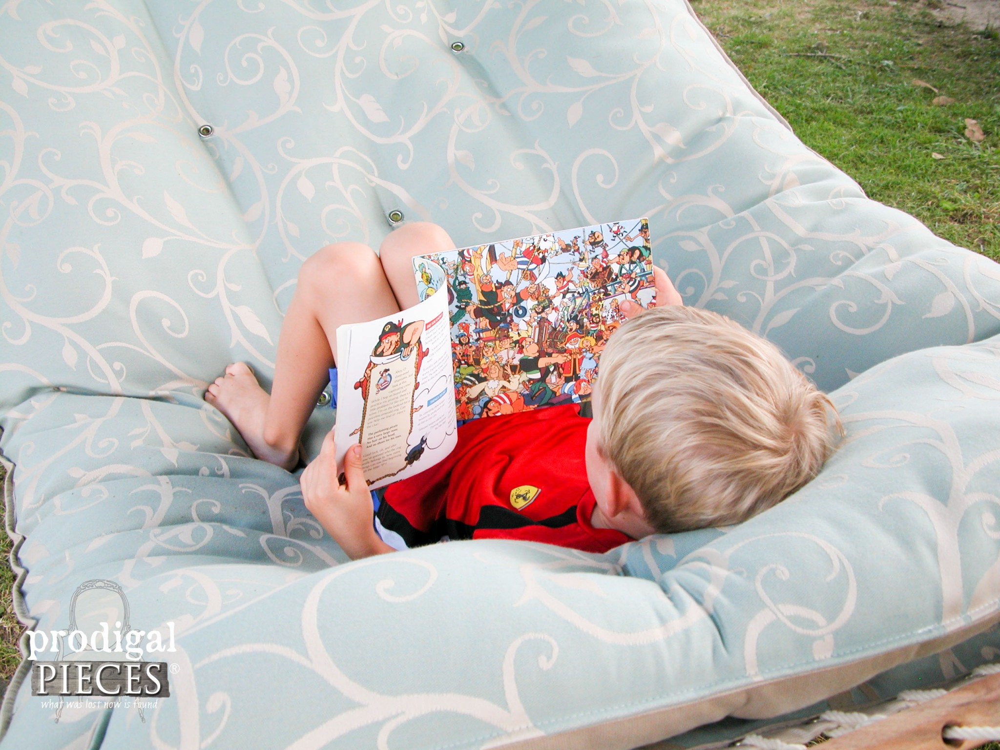 Boy Reading Book in Tufted Hammock | Prodigal Pieces | www.prodigalpieces.com