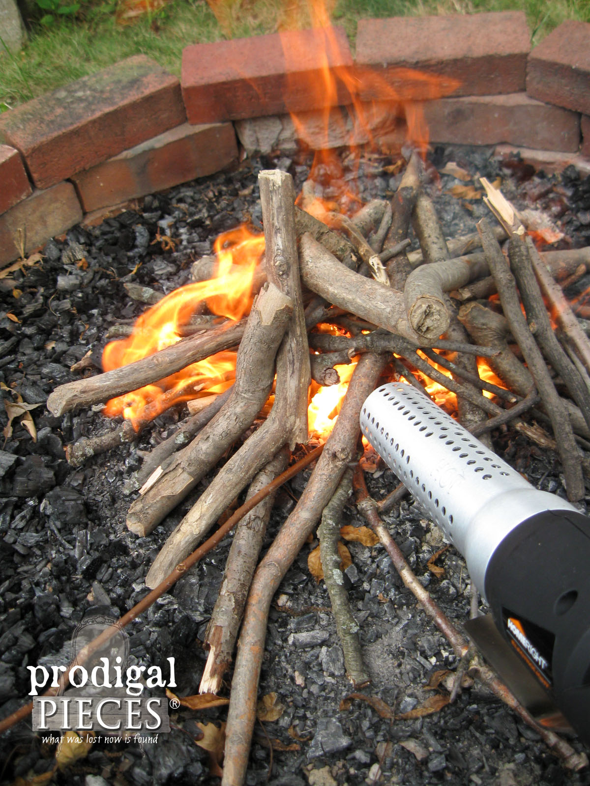 Campfire Easily Lit with the HomeRight Electrolight | Prodigal Pieces | www.prodigalpieces.com