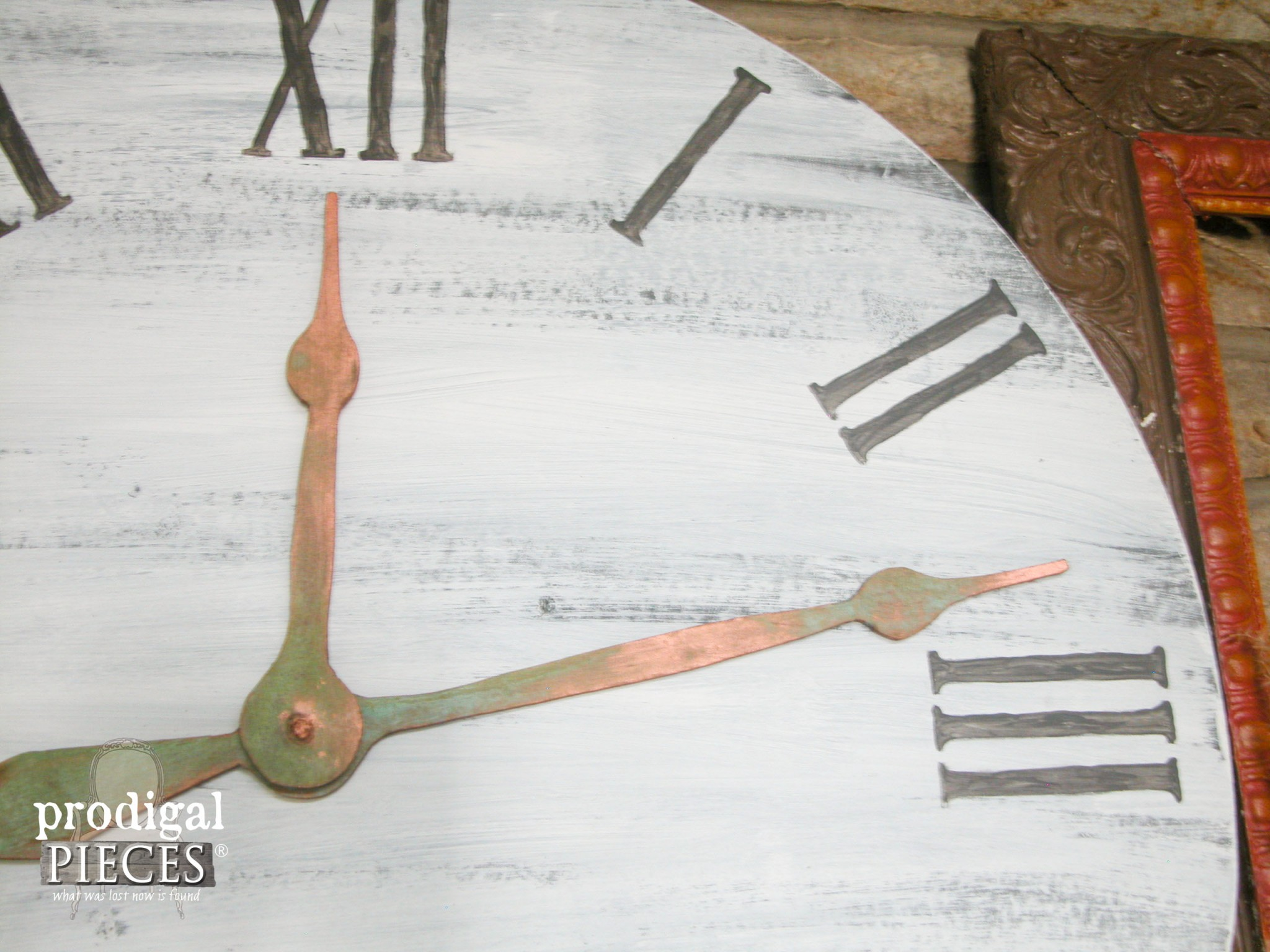 DIY Copper Patina on Faux Clock Face by Prodigal Pieces | www.prodigalpieces.com