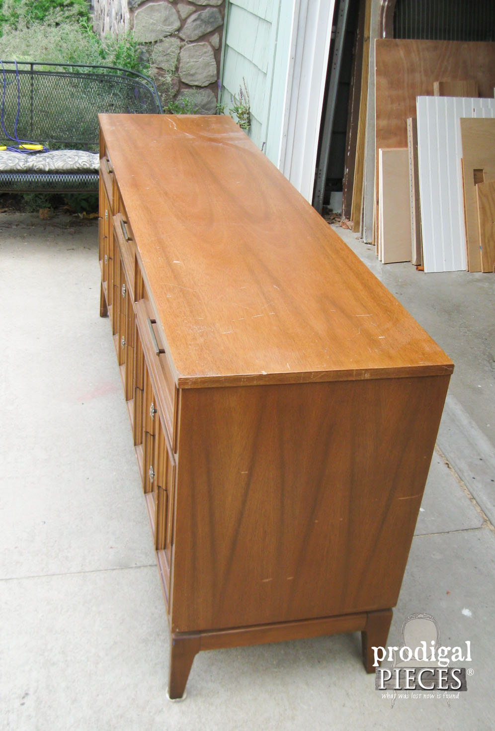 Vintage Dixie Dresser Credenza Before Factory Finish Makeover by Prodigal Pieces | www.prodigalpieces.com