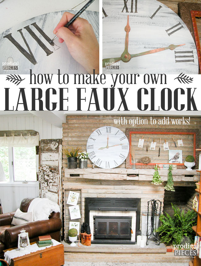 How to Make a Large Faux Clock for less than $10 for a Rustic Farmhouse Style by Prodigal Pieces | www.prodigalpieces.com