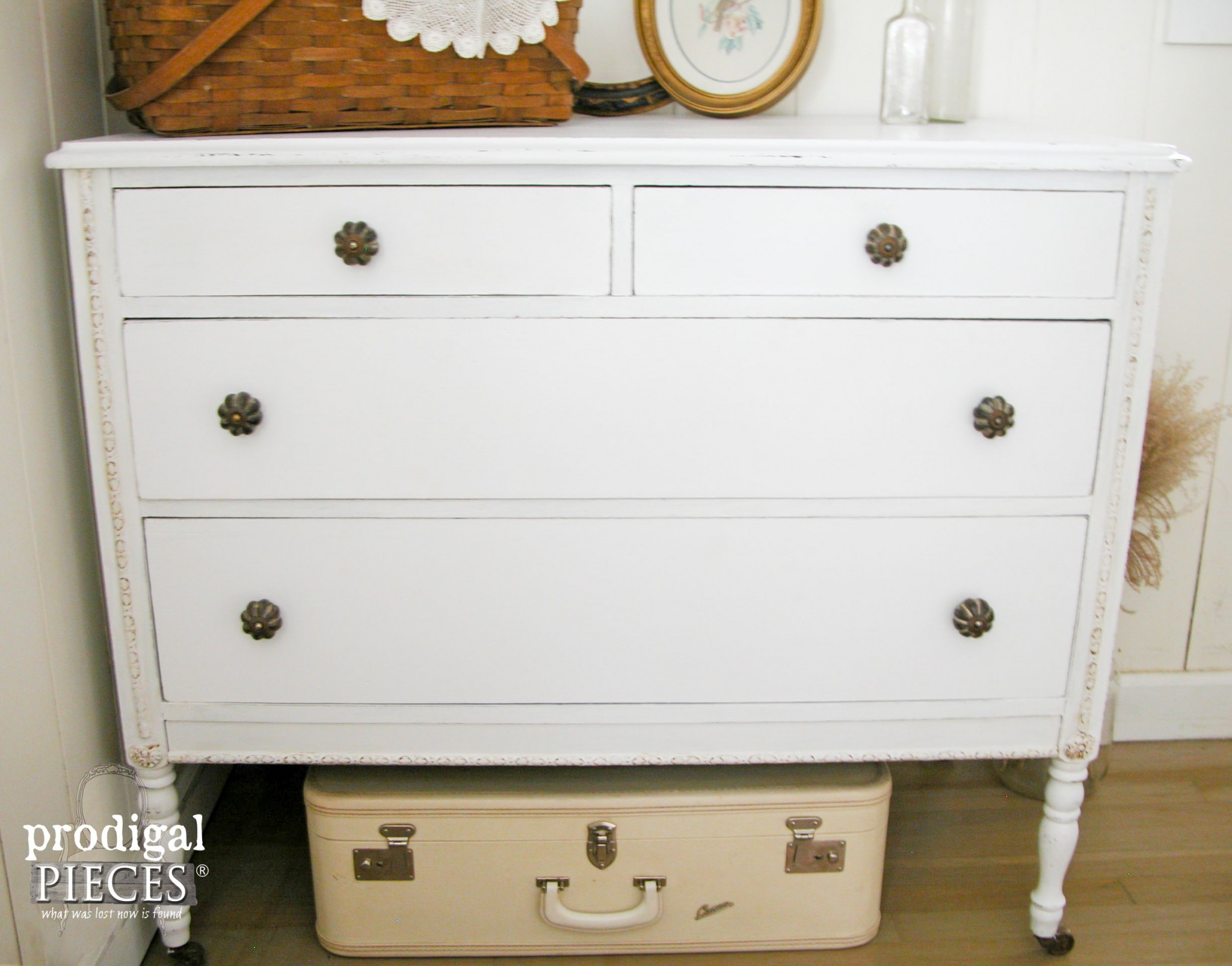 White Farmhouse Distressed Dresser with Classic White Paint by Prodigal Pieces | www.prodigalpieces.com