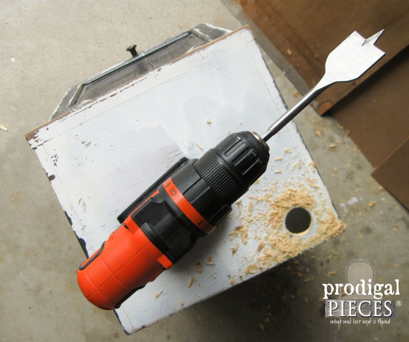 Drilling Charging Station Hole in Bread Box | Prodigal Pieces | www.prodigalpieces.com