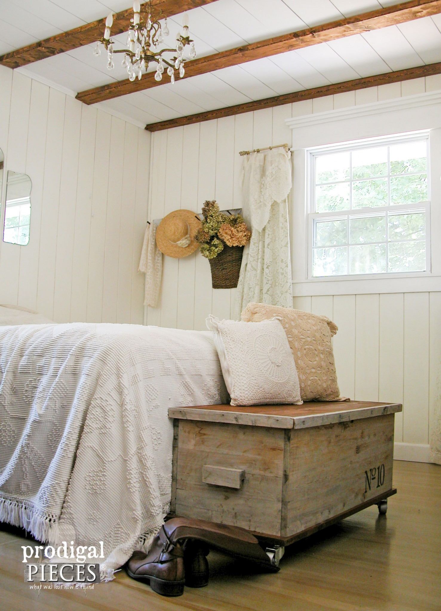 Farmhouse Chic Bedroom With Industrial Style Cedar Chest Made New By Prodigal Pieces
