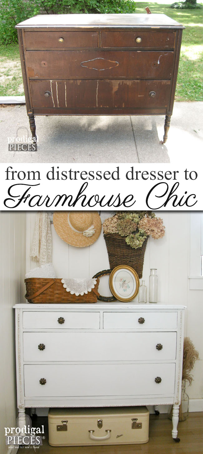 A Once Damaged Dresser Gets a New Look with a Farmhouse Chic Style with Tips on How to Remove Veneer by Prodigal Pieces | prodigalpieces.com