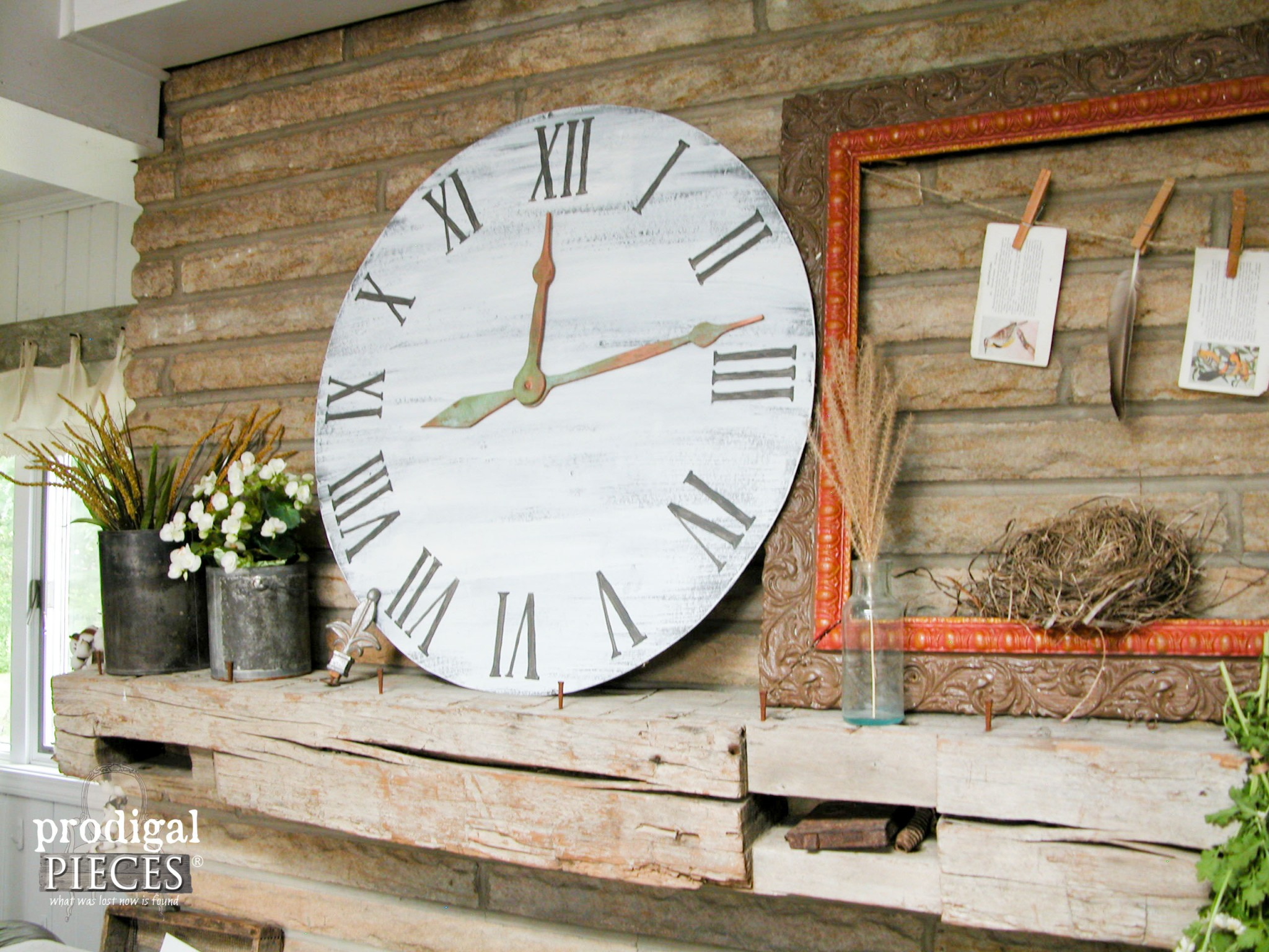 Rustic Farmhouse Mantel with Large Faux Clock by Prodigal Pieces | www.prodigalpieces.com