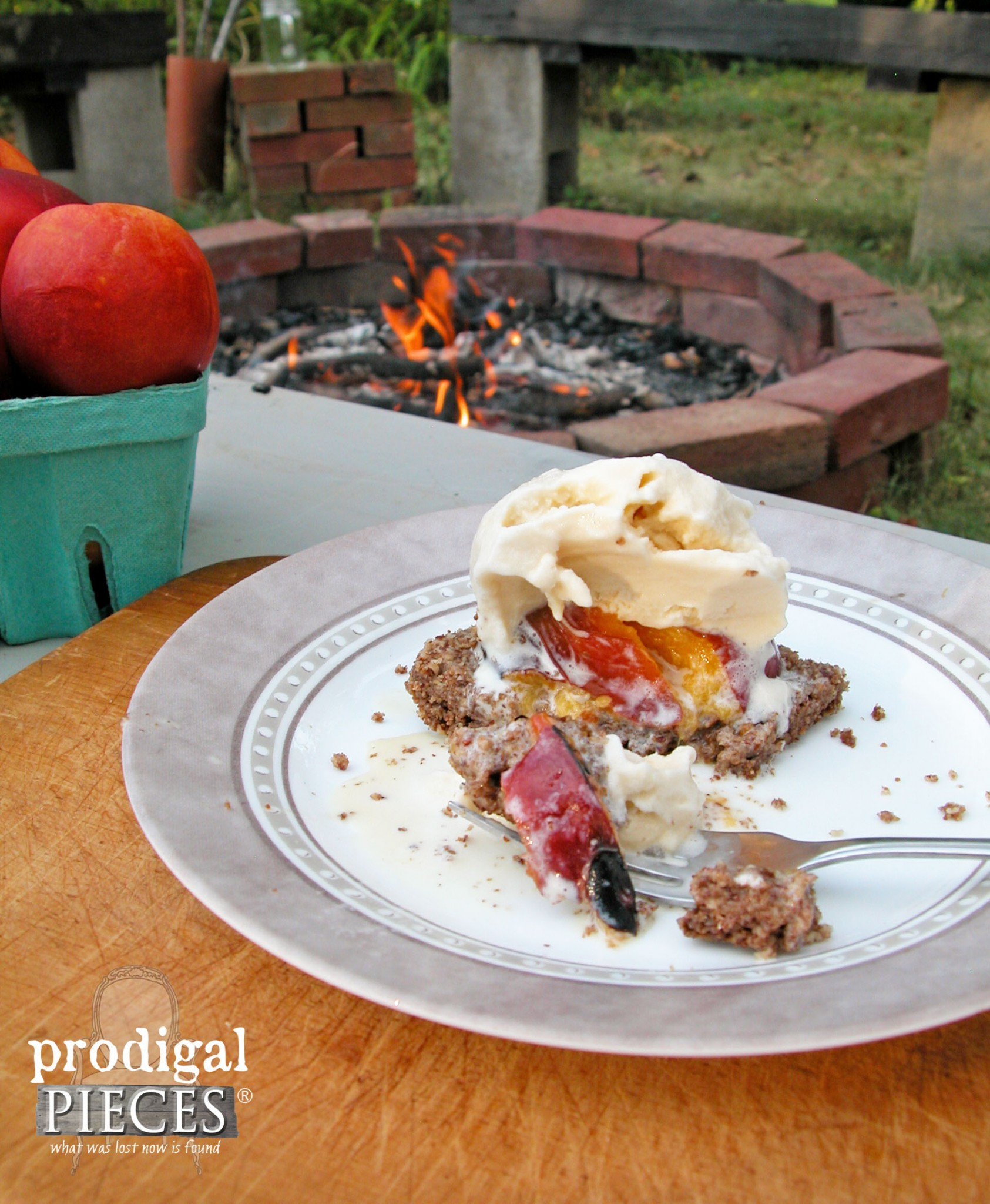Fire Roasted Stone Fruit on Grain & Gluten Free Crust Topped with Homemade Raw Milk Ice Cream by Prodigal Pieces | www.prodigalpieces.com