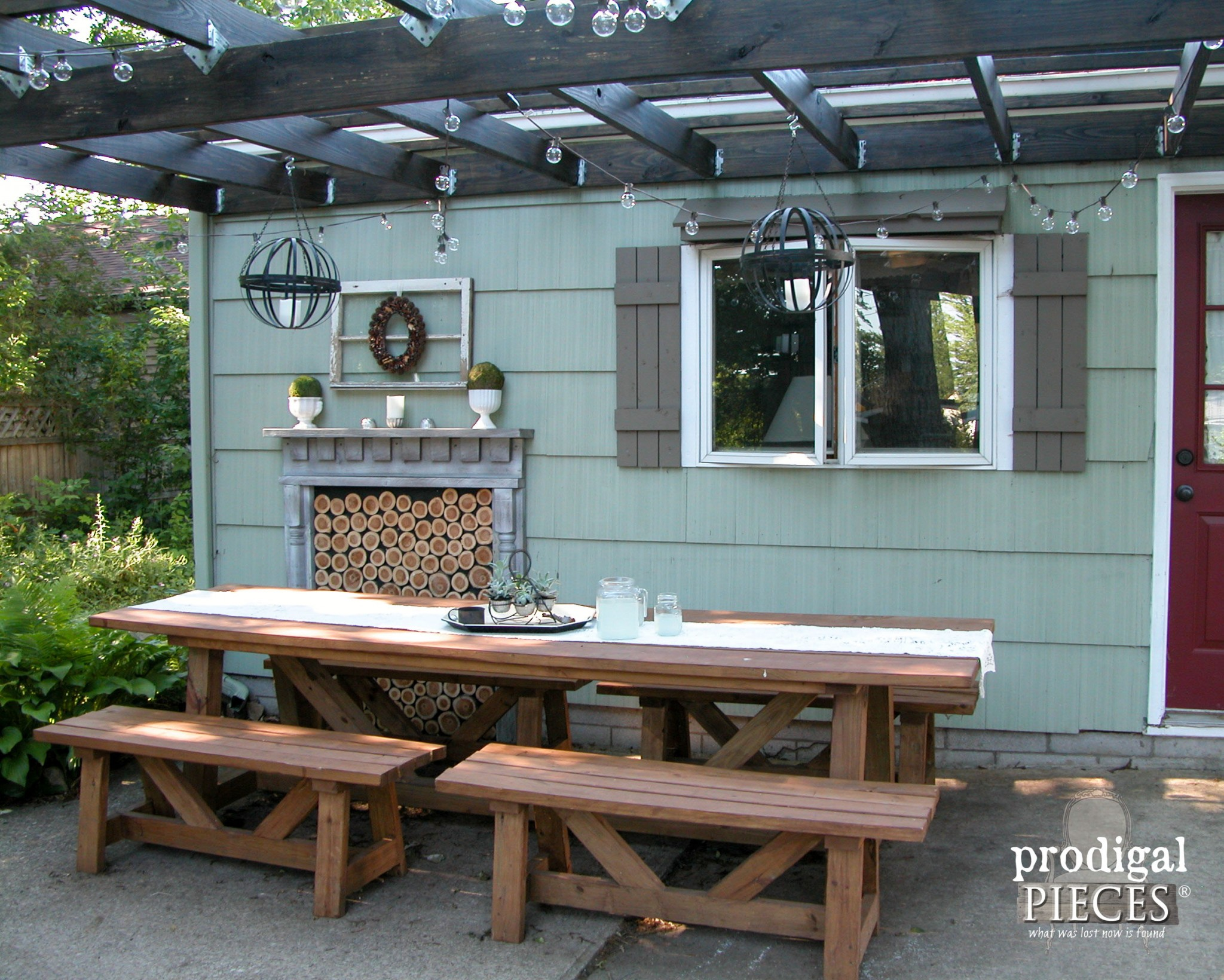 Large Harvest Table with Benches for Patio Dining | Prodigal Pieces | www.prodigalpieces.com