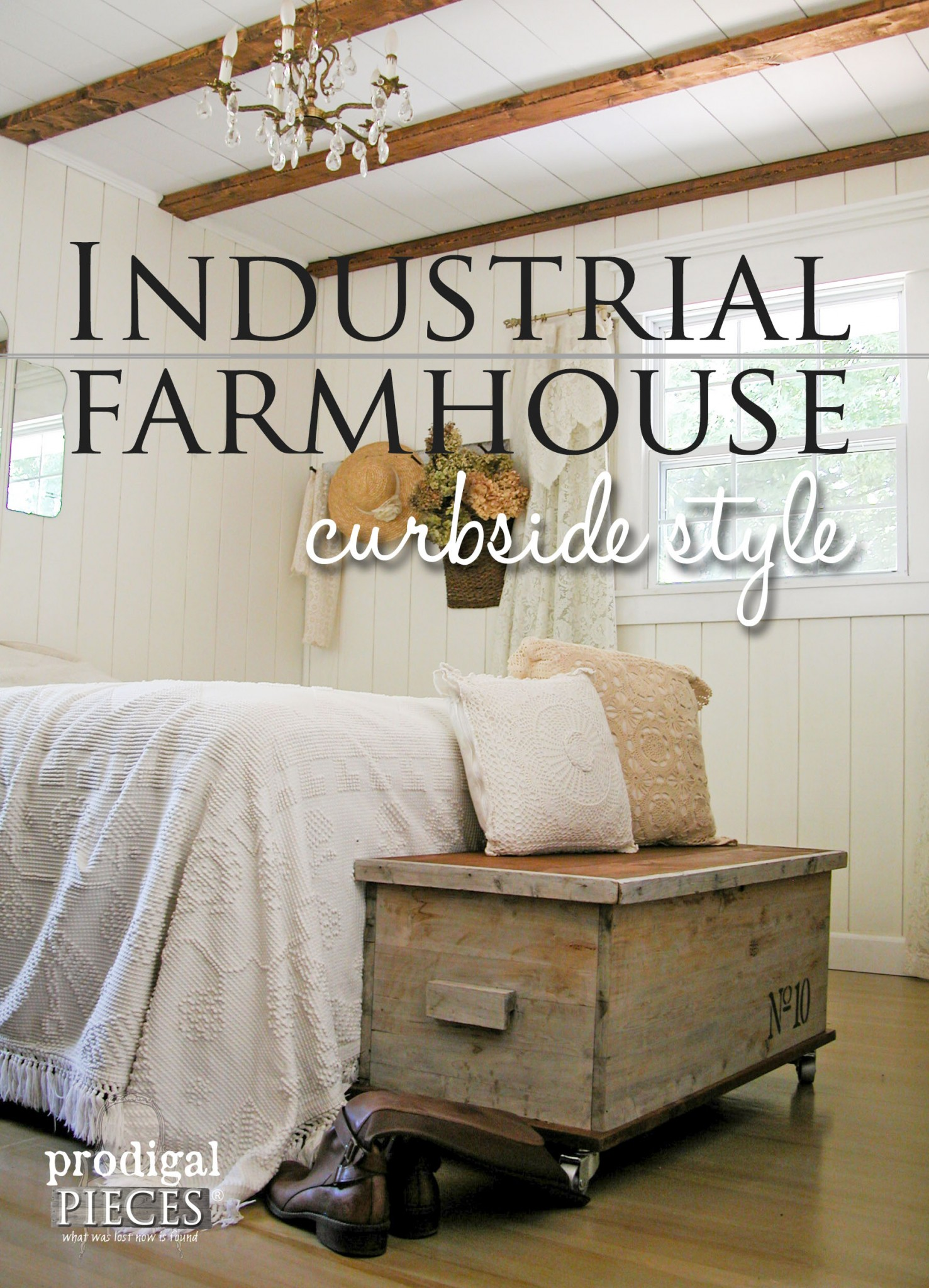 A Cedar Chest Found in the Trash Becomes Industrial Style Decor in this Farmhouse Bedroom by Prodigal Pieces | www.prodigalpieces.com