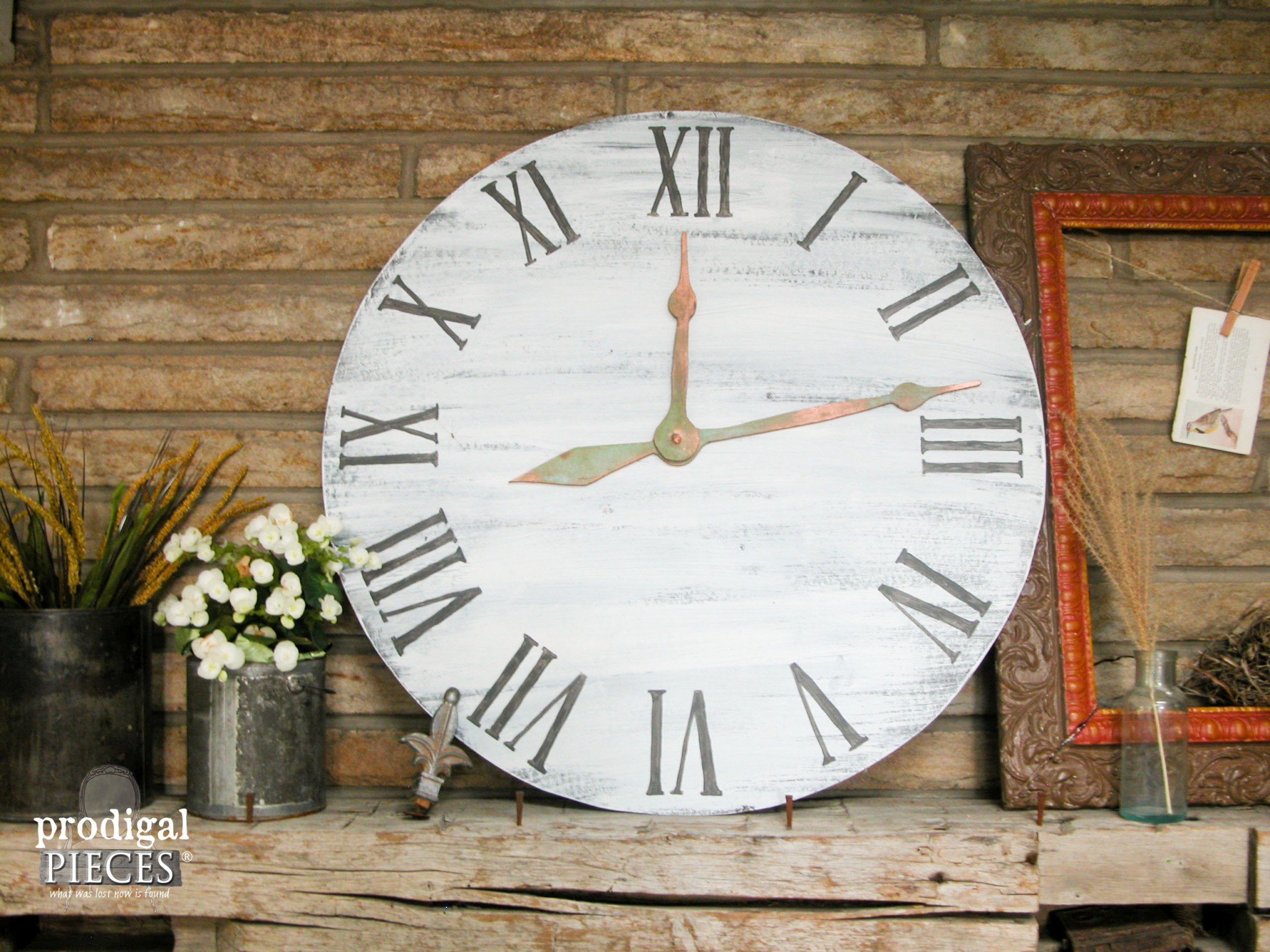 Oversize Faux Clock on Rustic Farmhouse Mantel by Prodigal Pieces | www.prodigalpieces.com