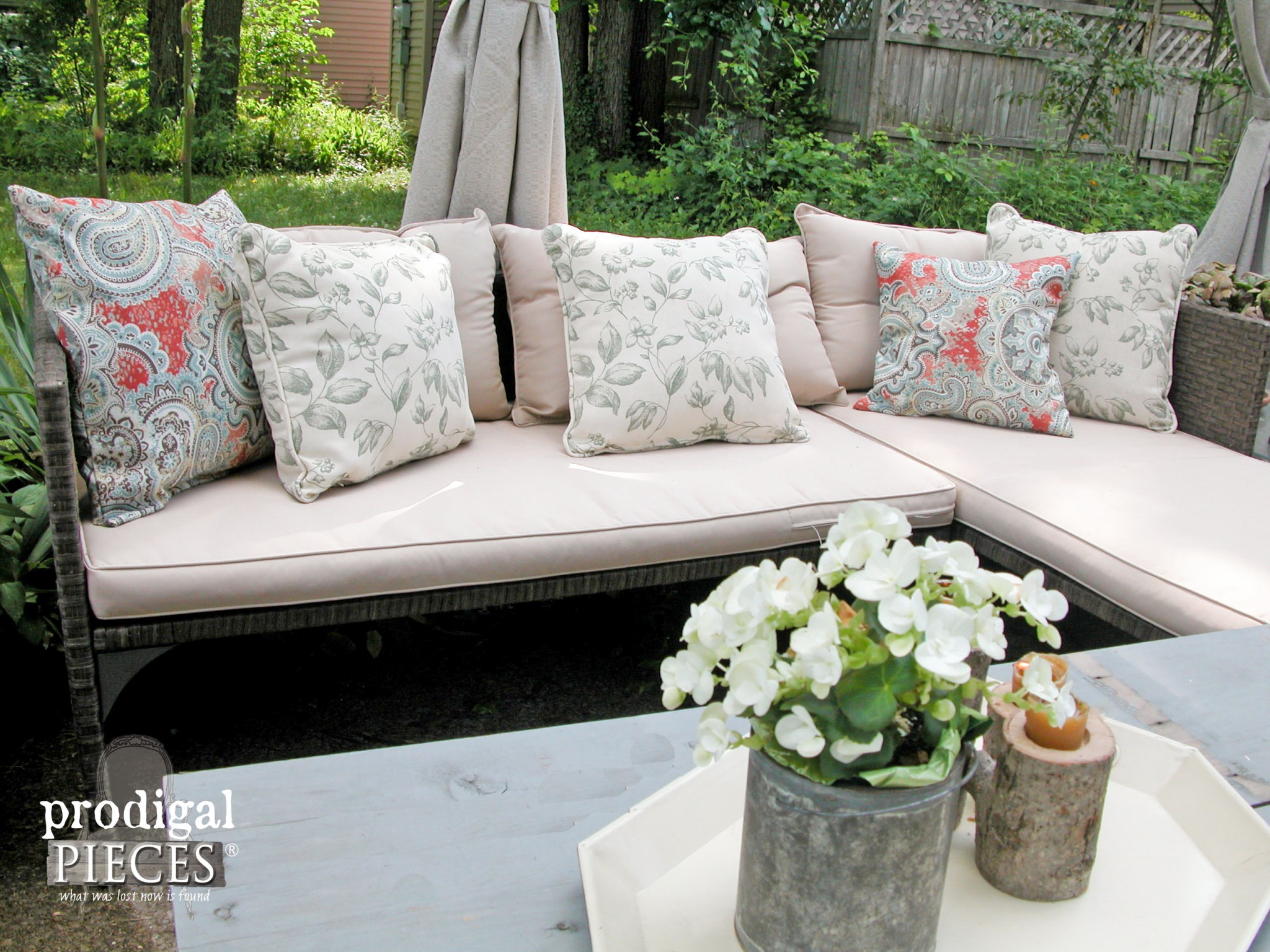 DIY Outdoor Pillows on Patio Sectional by Prodigal Pieces | www.prodigalpieces.com