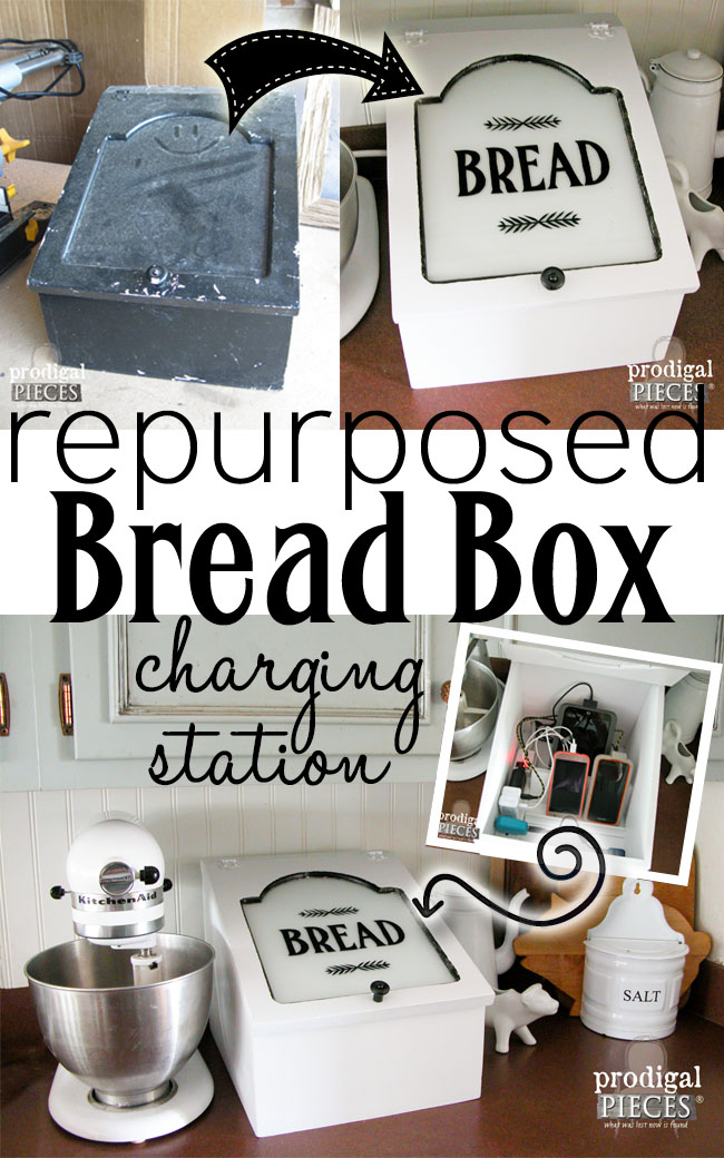 Farmhouse Style Repurposed Bread Box turned Charging Station by Prodigal Pieces | www.prodigalpieces.com