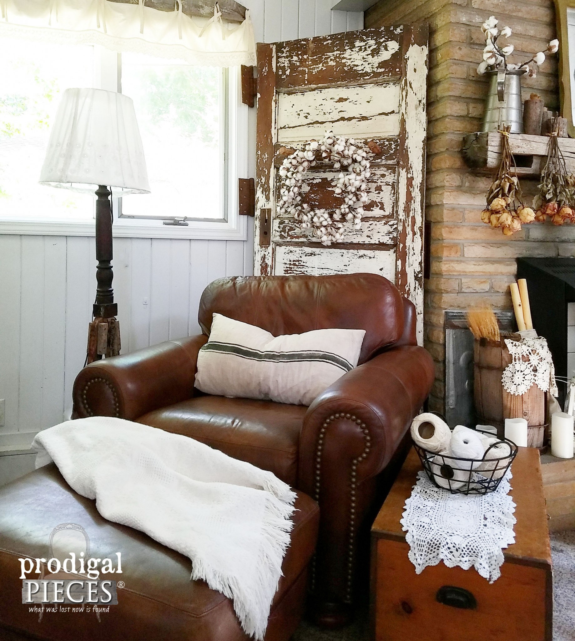 Rustic Farmhouse Eclectic Style Family Room with Leather and Fireplace | Prodigal Pieces | www.prodigalpieces.com