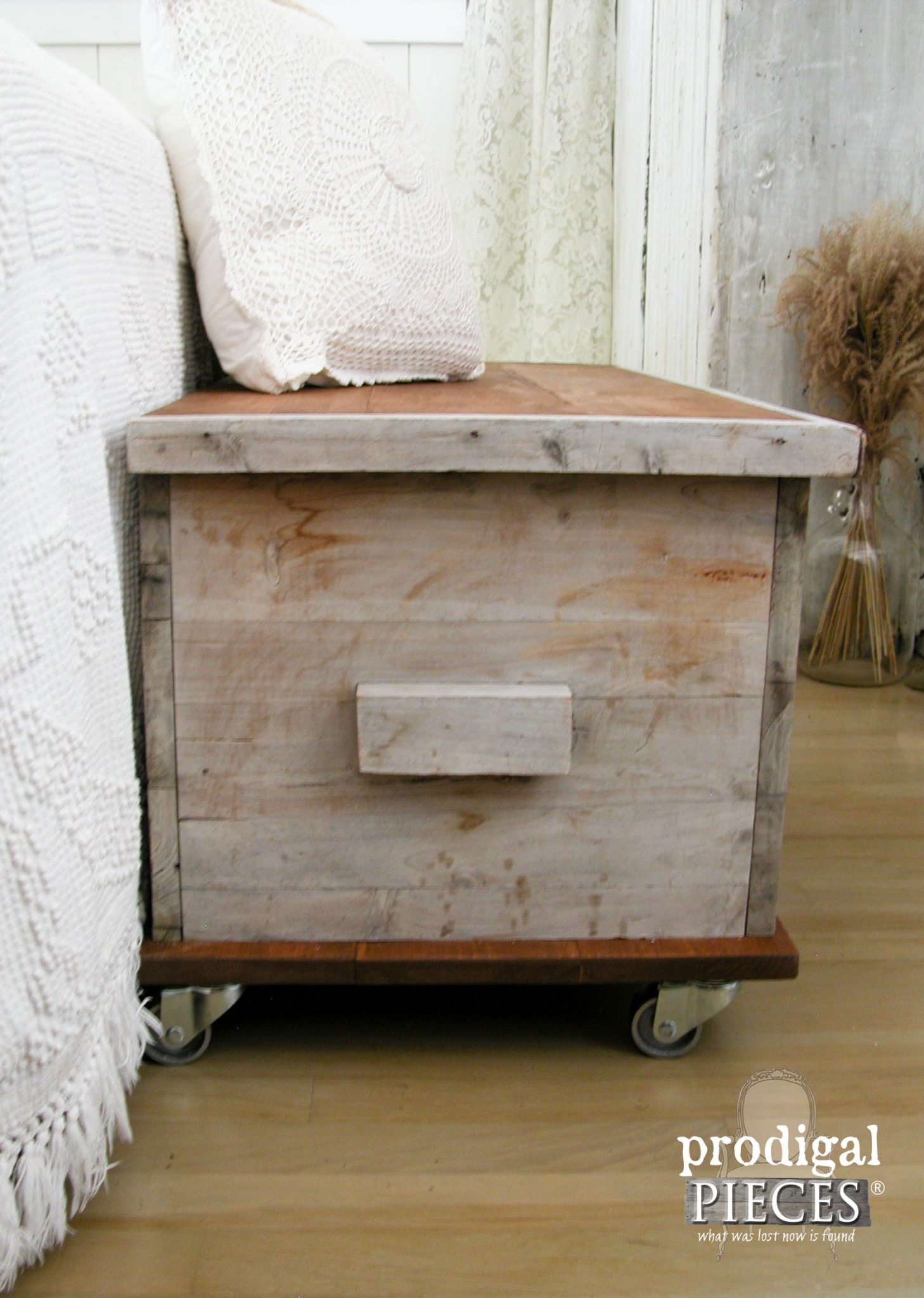 rustic weathered wood cedar chest in farmhouse bedroom by prodigal pieces