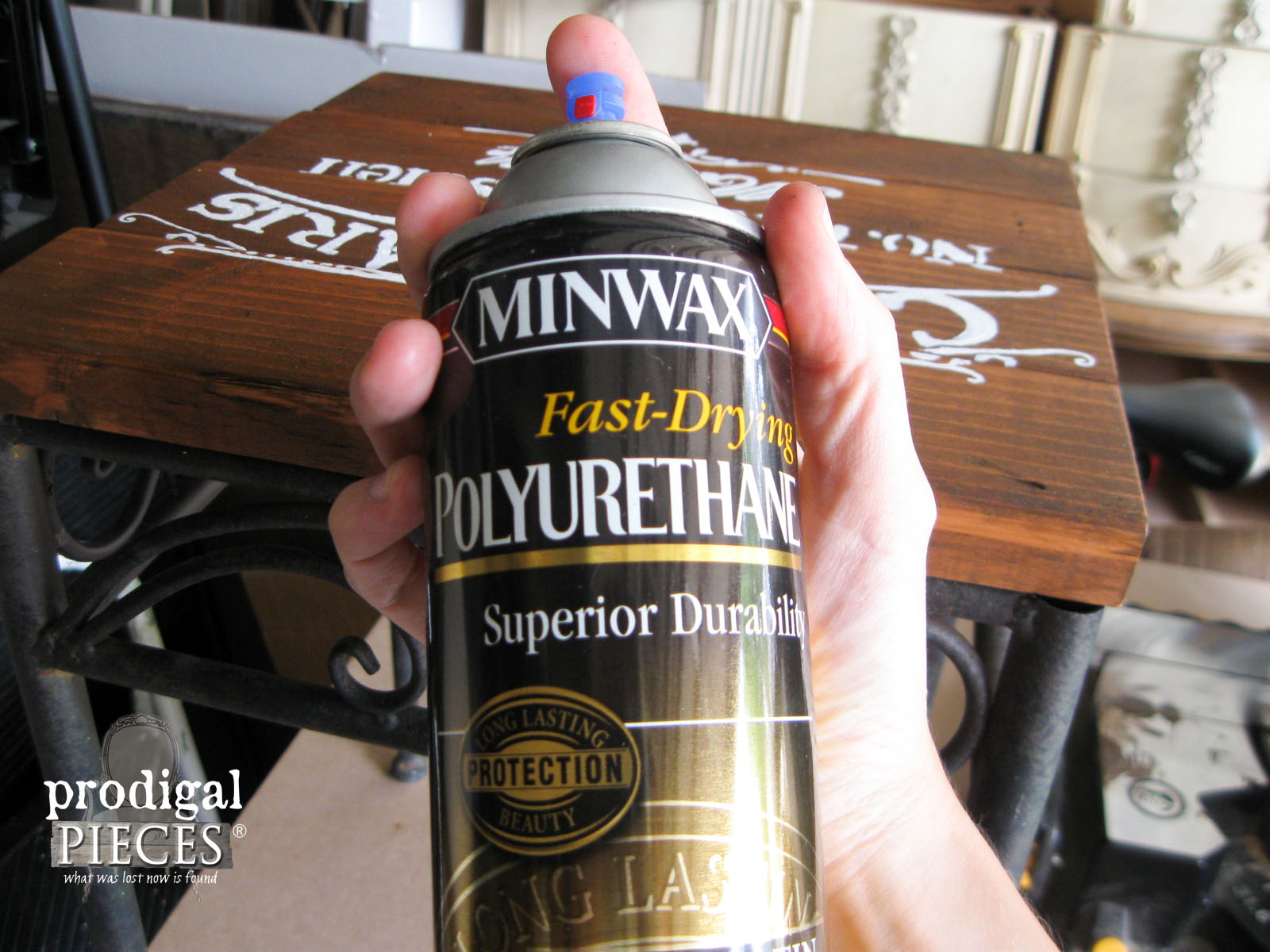 Spray Polyurethane by Minwax for Table | Prodigal Pieces | www.prodigalpieces.com