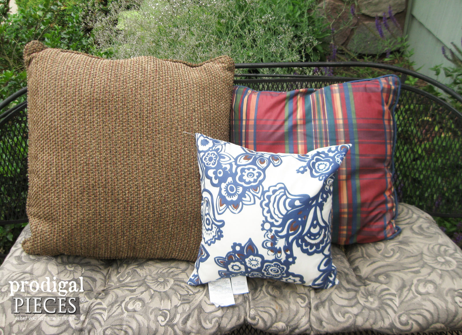 Collection of Thrifted Pillows for My DIY Outdoor Pillow Tutorial | Prodigal Pieces | www.prodigalpieces.com