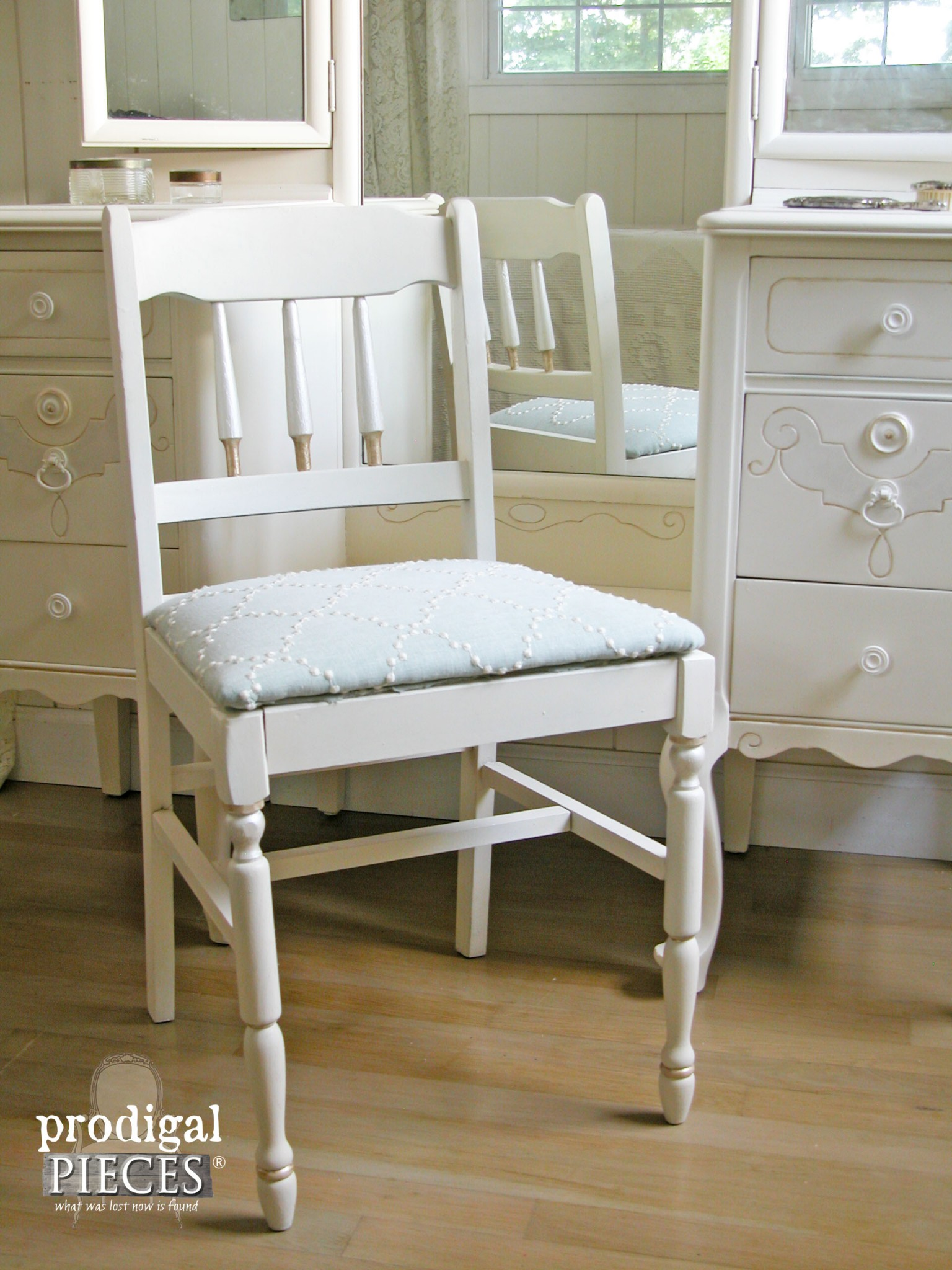 Antique Chair Paired with Queen Anne Dressing Table for Custom Furniture Finish by Prodigal Pieces | www.prodigalpieces.com