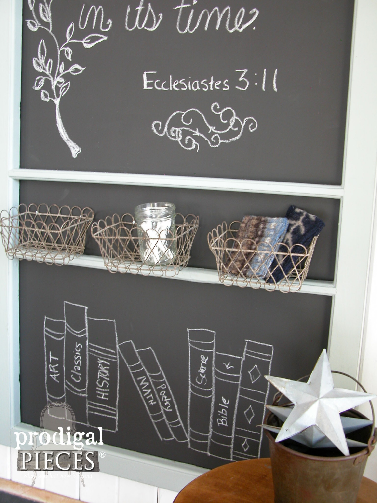 Chalkboard Storage Baskets on Repurposed Screen Door by Prodigal Pieces | www.prodigalpieces.com