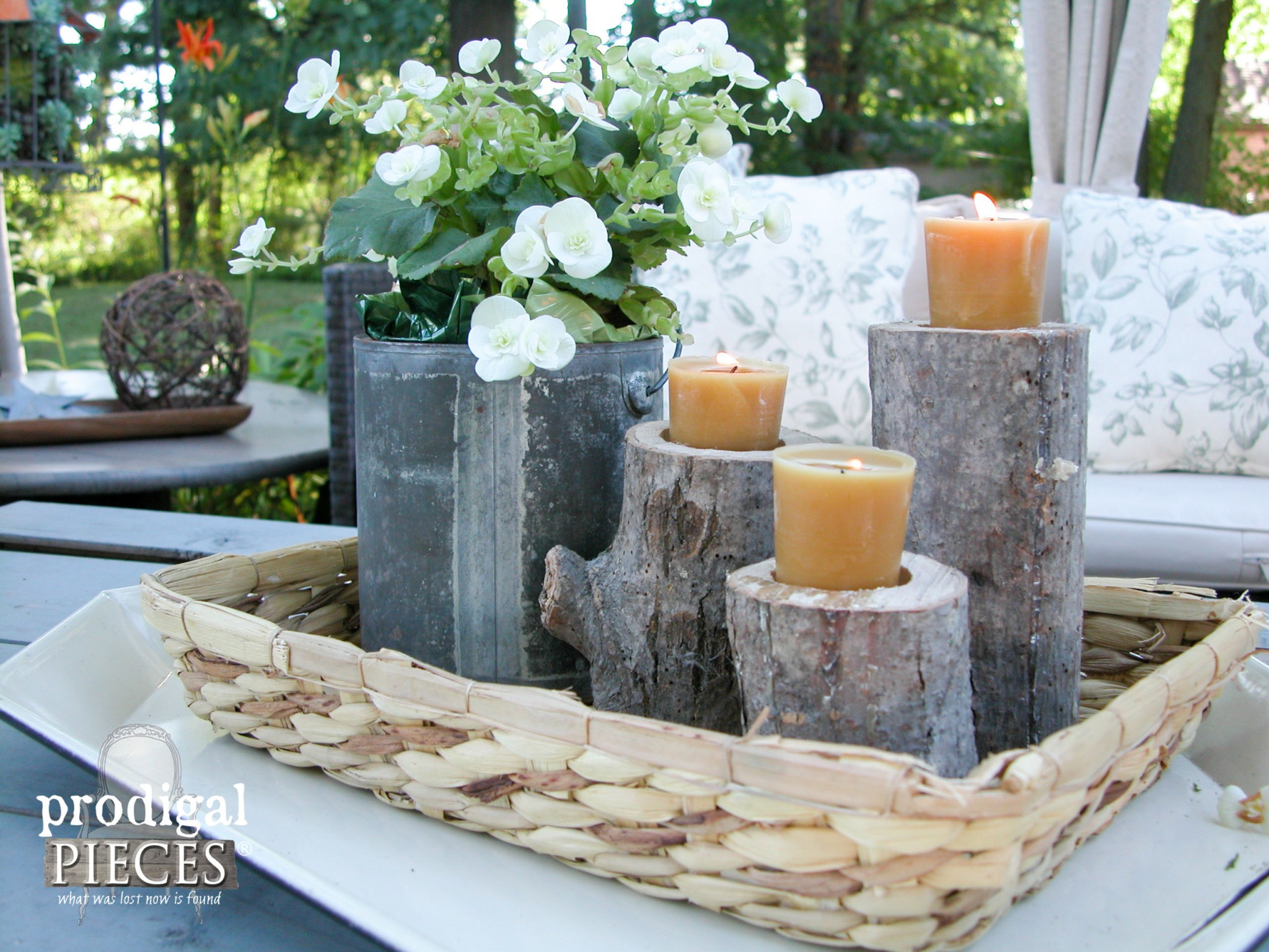Rustic DIY Log Candlesticks with Natural Beeswax Candles by Prodigal Pieces | www.prodigalpieces.com