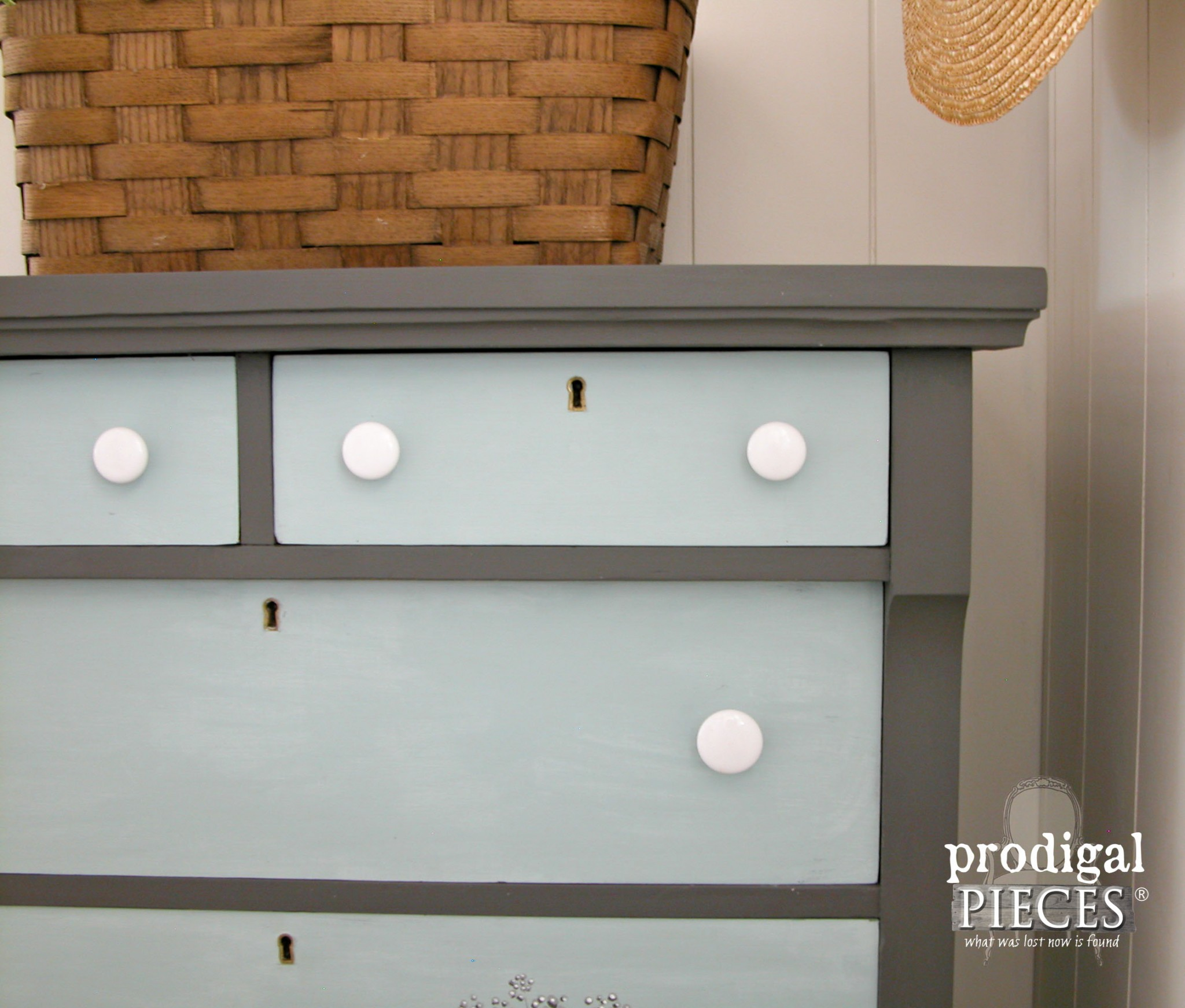 Gray Paired with Soft Aqua on Vintage Empire Chest by Prodigal Pieces | www.prodigalpieces.com