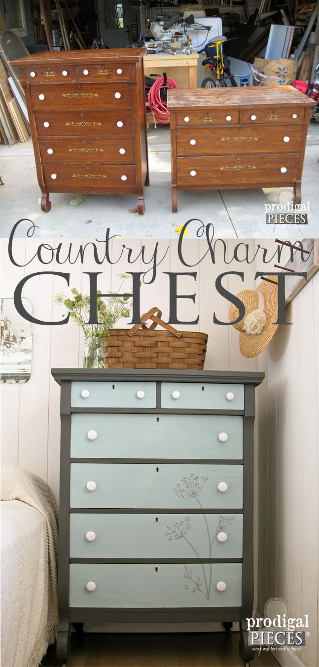 Vintage Empire Chest Gets Country Charm Makeover with Queen Anne's Lace Flowers by Prodigal Pieces | www.prodigalpieces.com