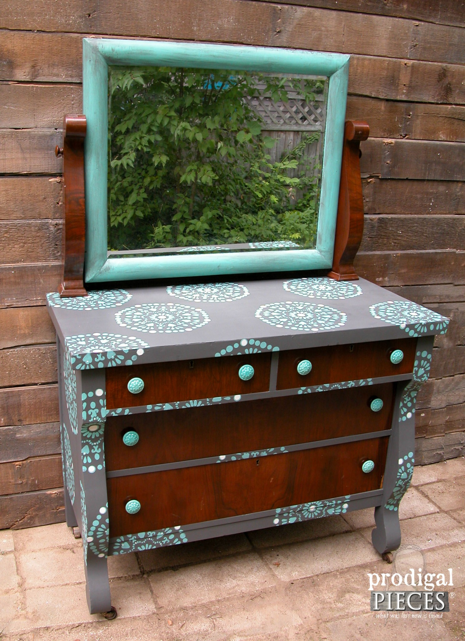 Side of Empire Dresser Stenciled with Funky Design by Prodigal Pieces | www.prodigalpieces.com