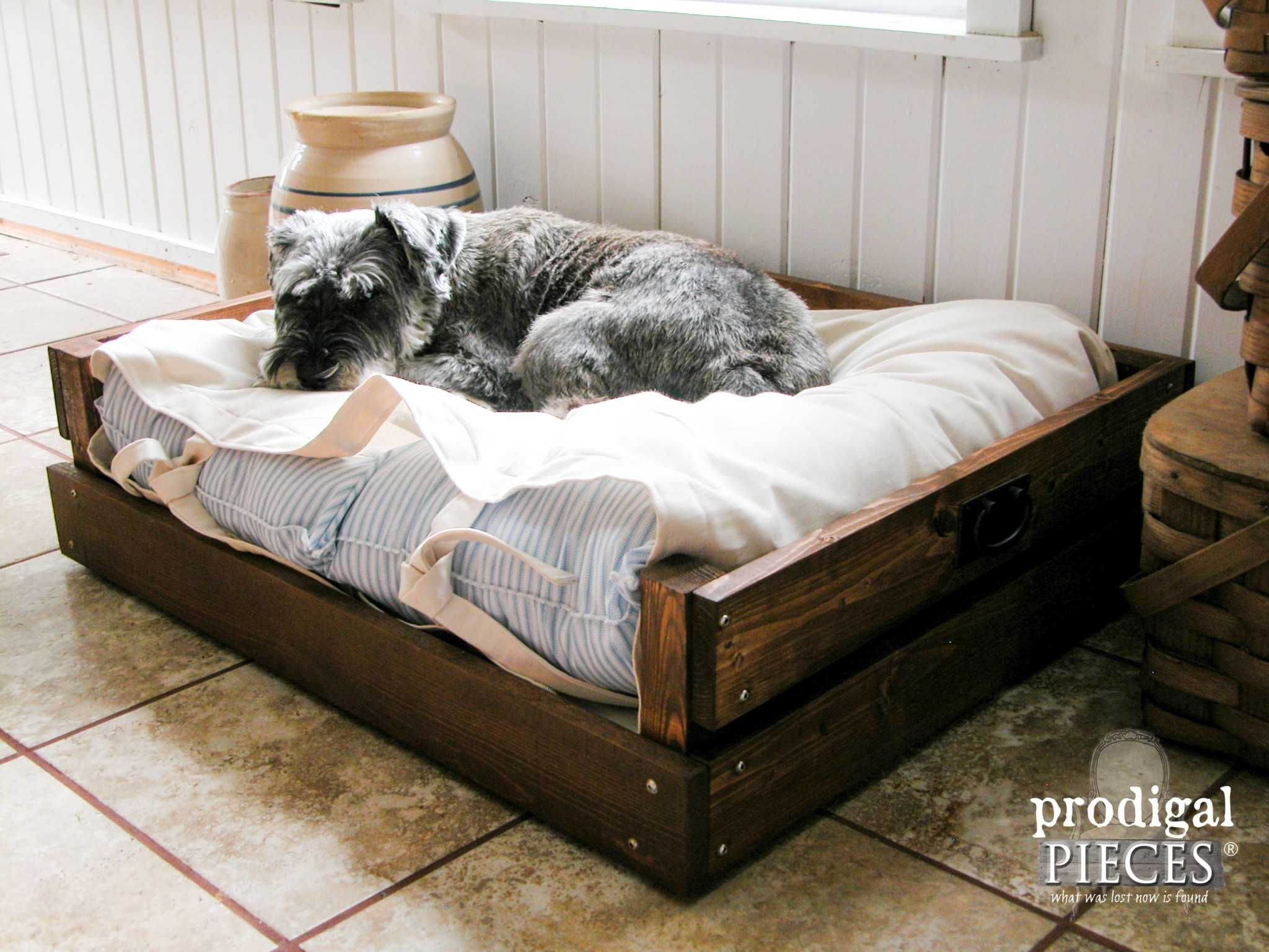 dog laying in diy pet bed by prodigal pieces wwwprodigalpiecescm - Dog Bed Frame
