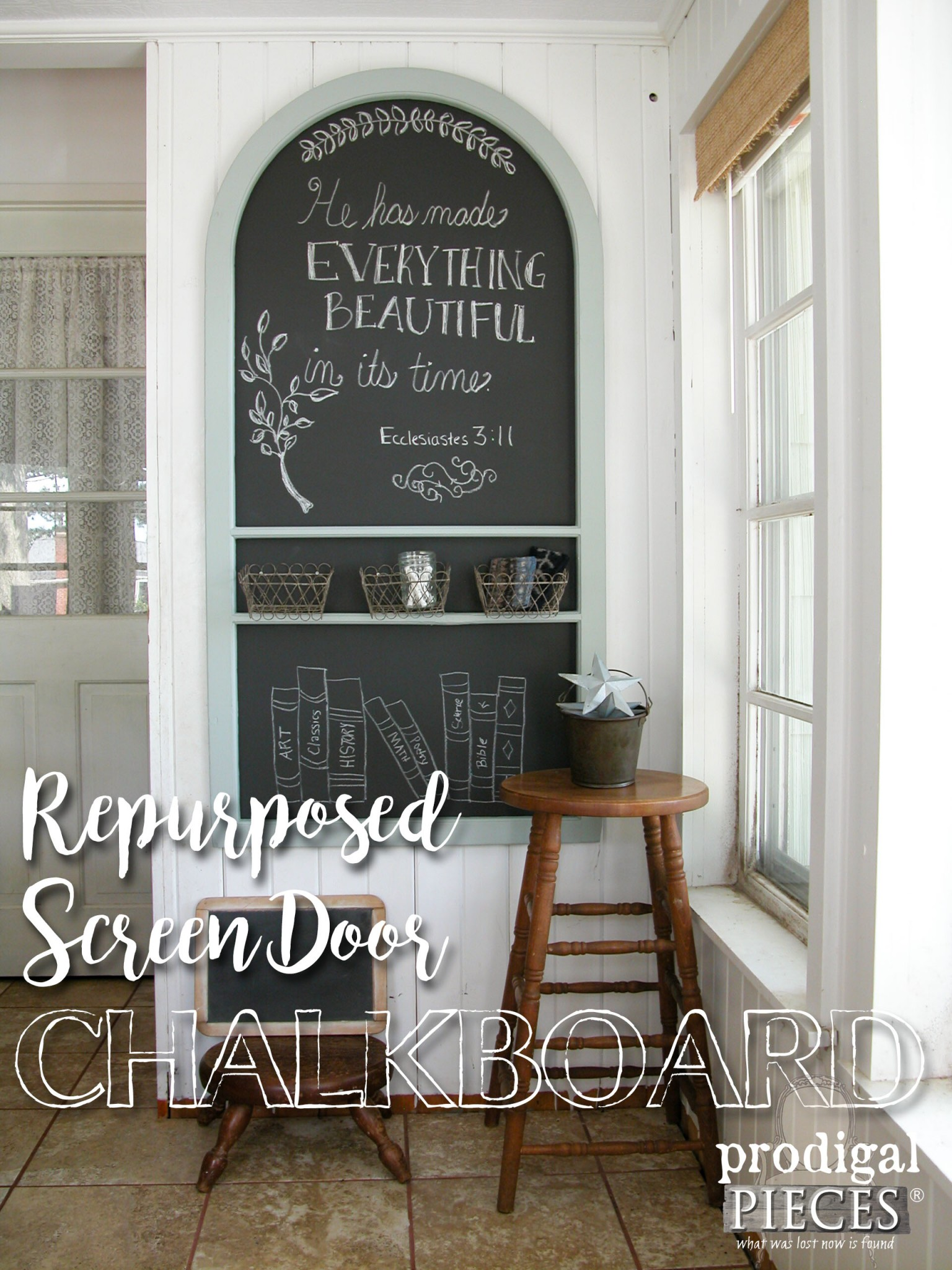 Repurposed Screen Door Turned Chalkboard Wall Art by Prodigal Pieces | www.prodigalpieces.com