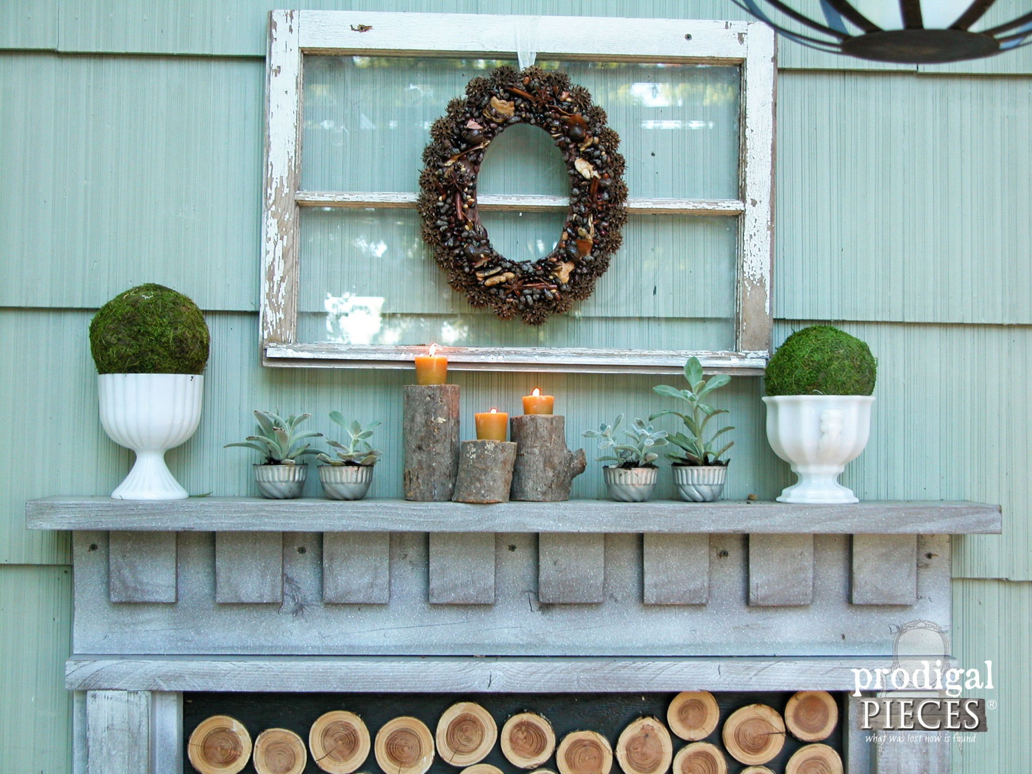 Rustic DIY Fireplace Mantel with Log Candlesticks by Prodigal Pieces | www.prodigalpieces.com