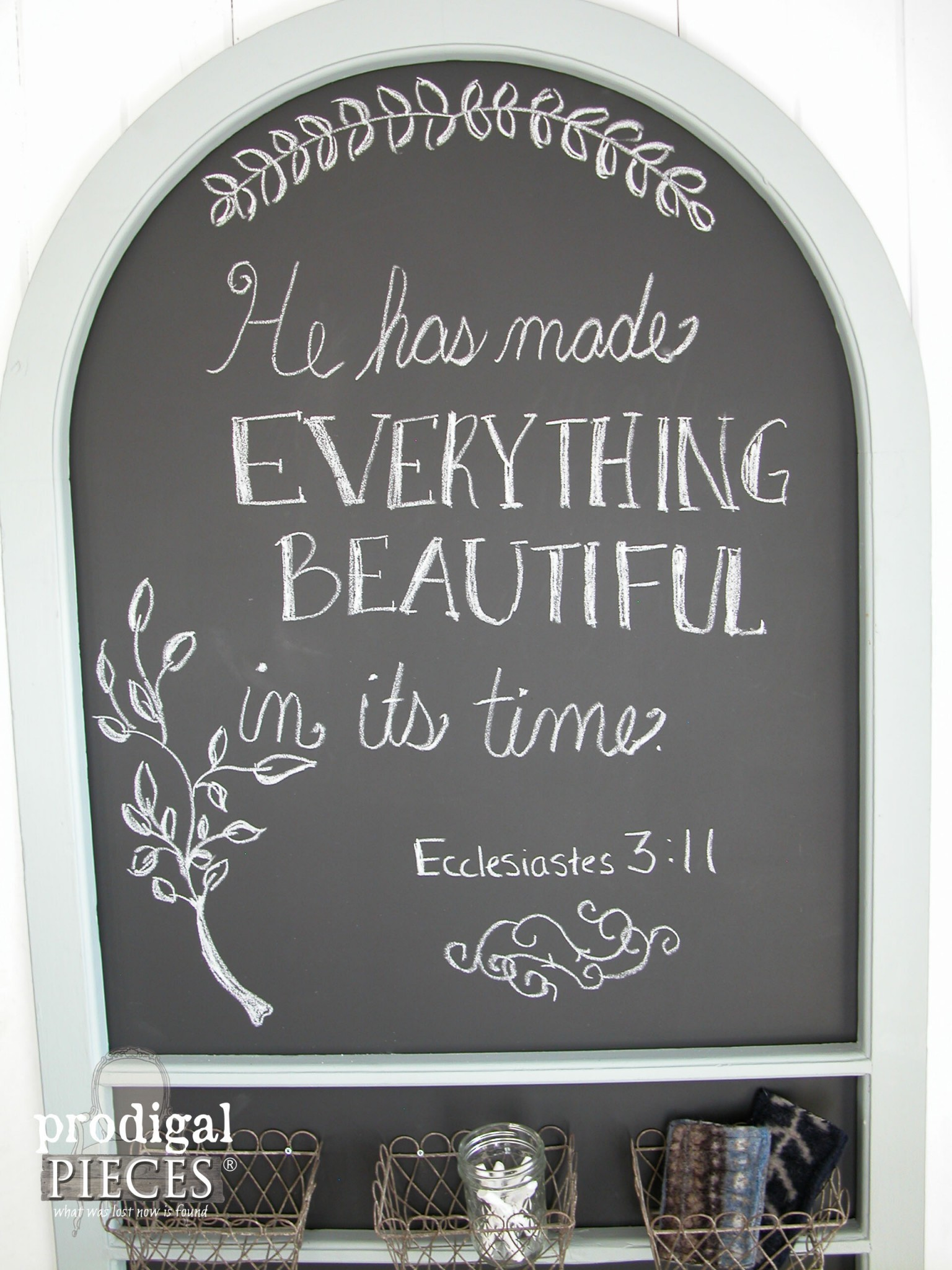 Scripture on DIY Chalkboard from Repurposed Screen Door by Prodigal Pieces | www.prodigalpieces.com