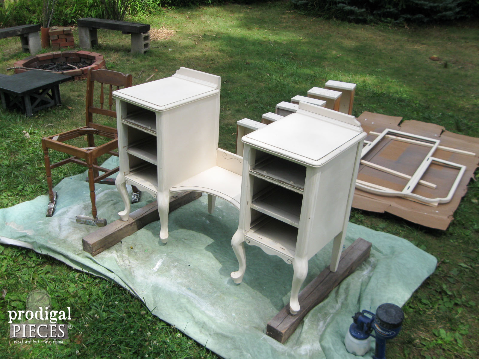 Spray Painting Vanity for Custom Furniture Finish | Prodigal Pieces | www.prodigalpieces.com