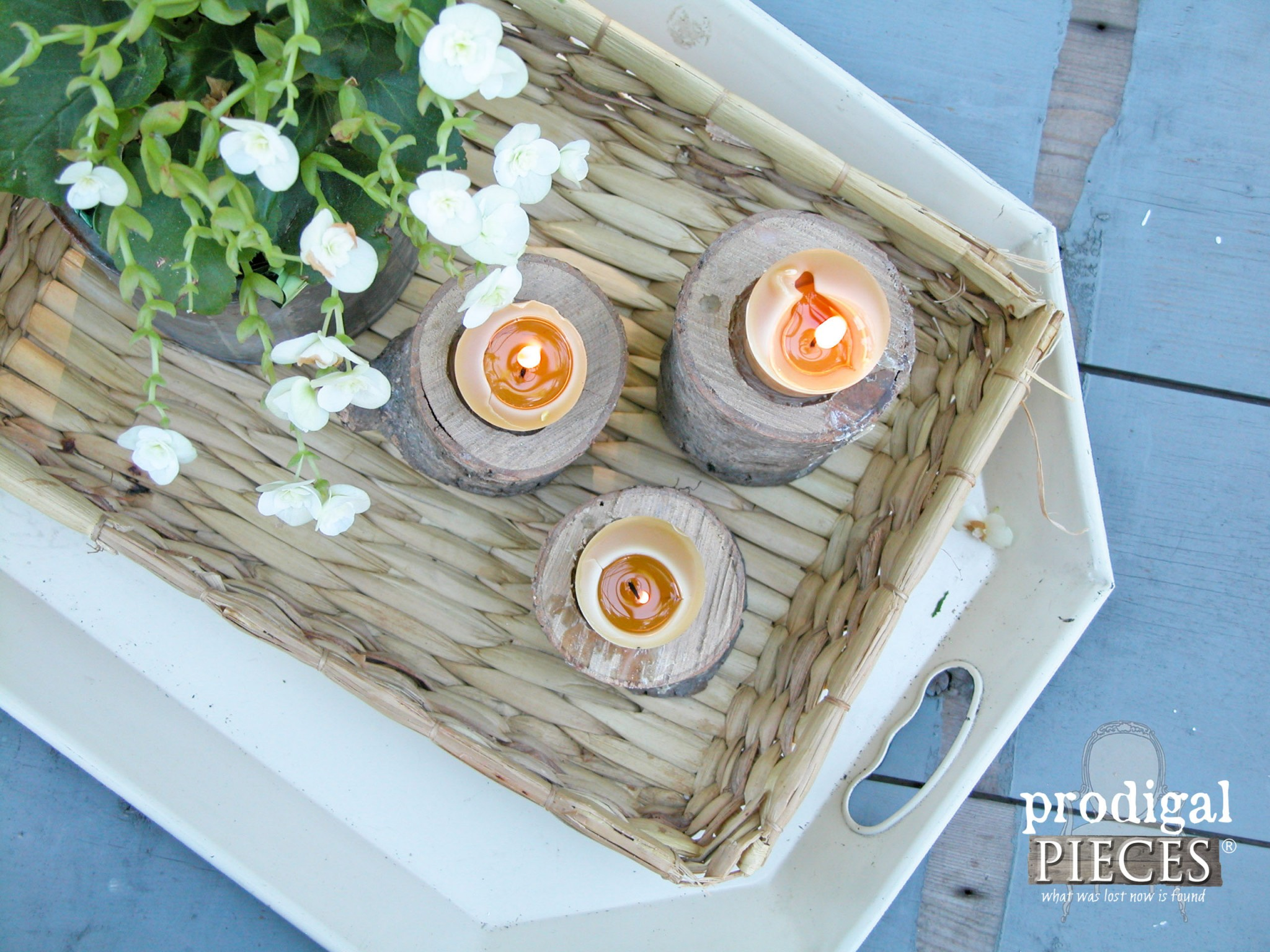Top View of Rustic Log Candlesticks | Prodigal Pieces | www.prodigalpieces.com