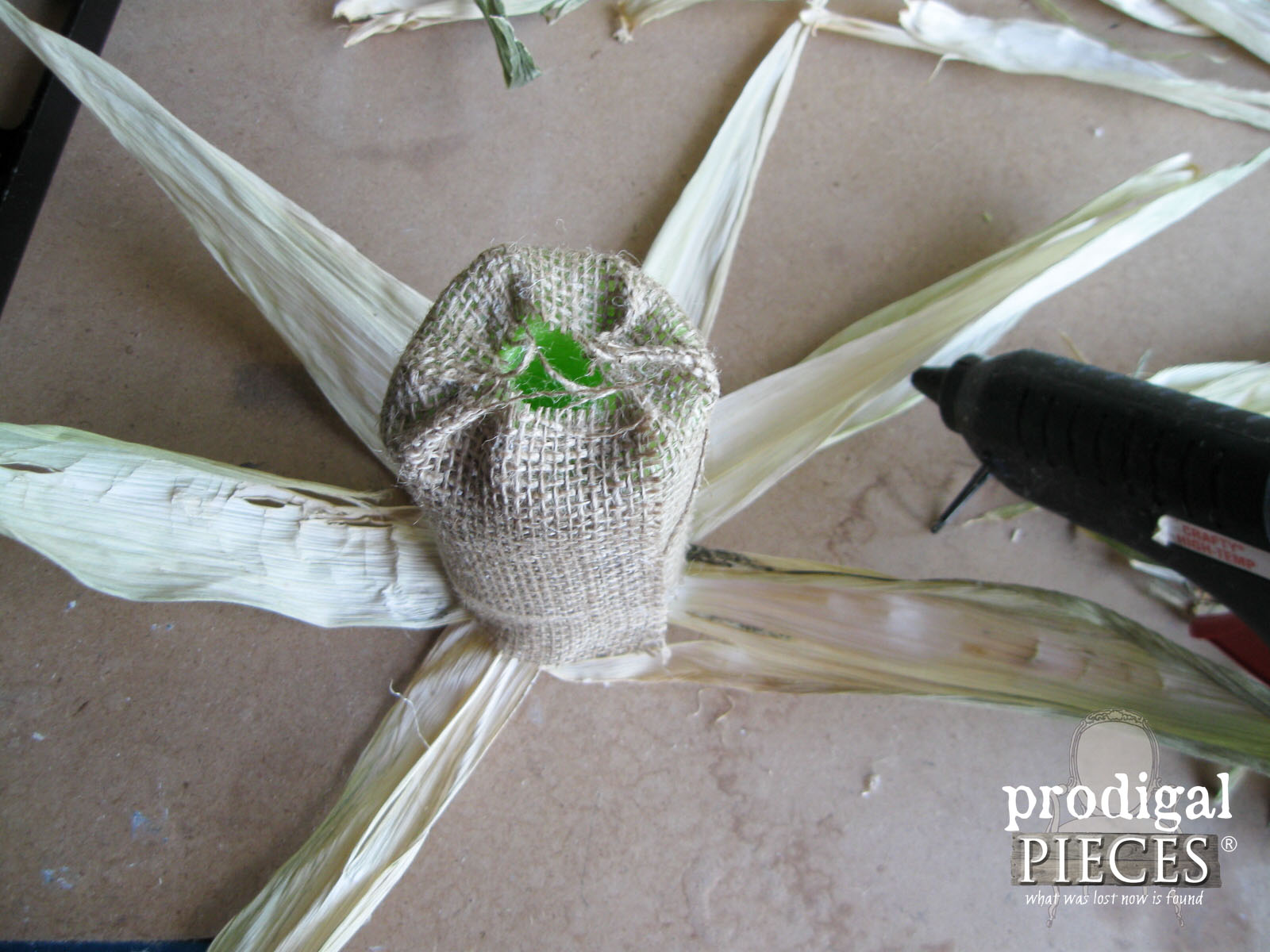 Adding Dried Corn Husk to DIY Pumpkin | Prodigal Pieces | www.prodigalpieces.com