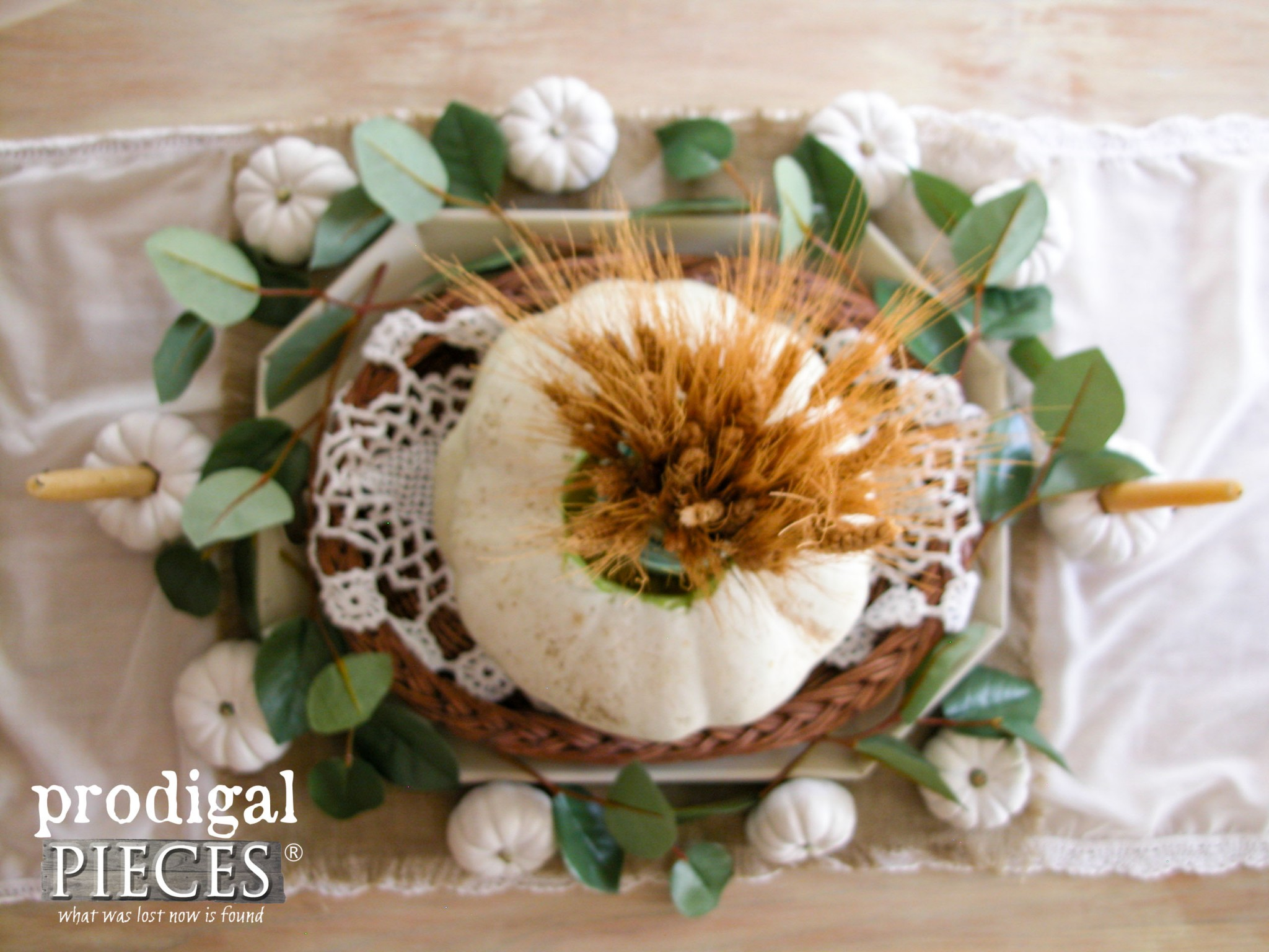 Rustic Farmhouse Style Thanksgiving Centerpiece Tutorial by Prodigal Pieces | www.prodigalpieces.com