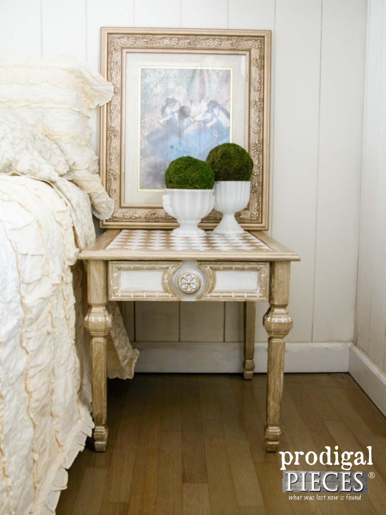 Vintage Mersman Side Table Makeover with Americana Decor Metallics Paint by Prodigal Pieces | www.prodigalpieces.com