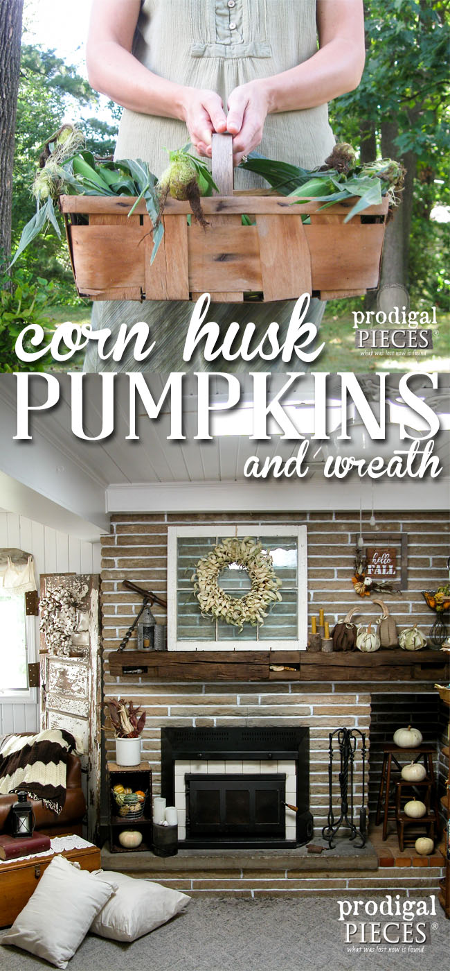 Rustic DIY Farmhouse Corn Husk Pumpkins and Wreath Tutorial by Prodigal Pieces | www.prodigalpieces.com