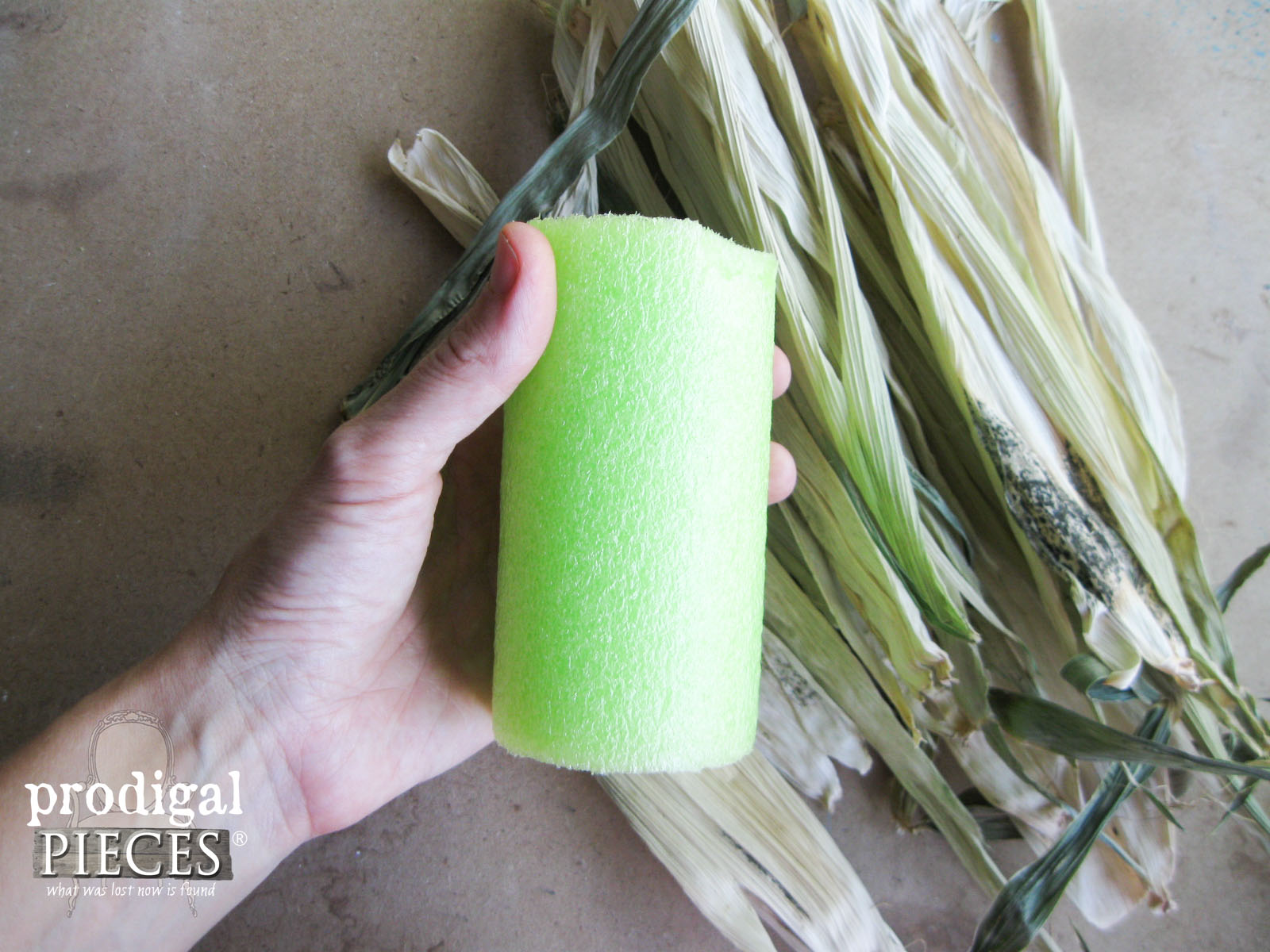 Cut Piece of Pool Noodle for DIY Corn Husk Pumpkin | Prodigal Pieces | www.prodigalpieces.com