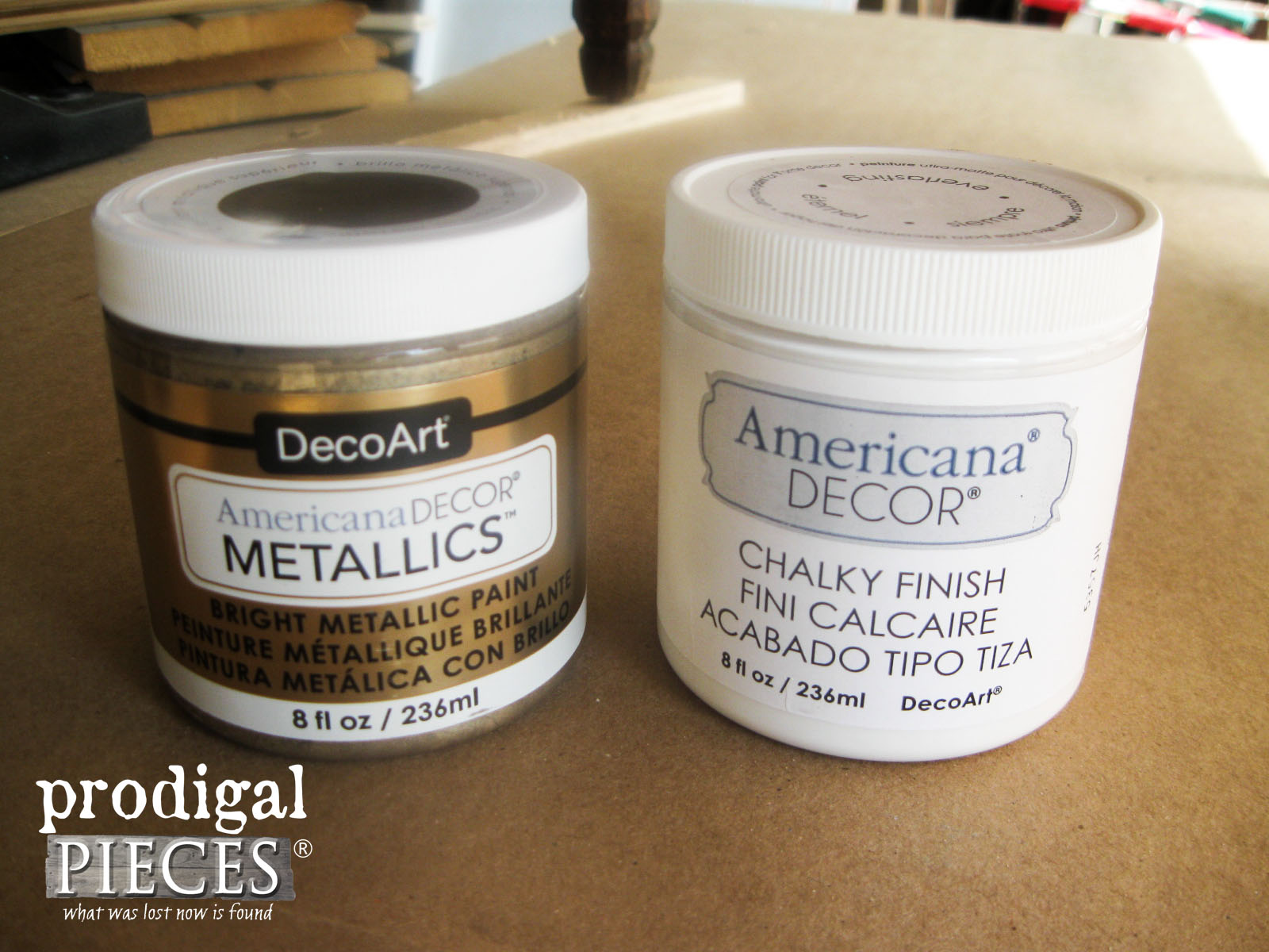 DecoArt Americana Metallic and Chalky Finish Paint for Makeover by Prodigal Pieces | www.prodigalpieces.com