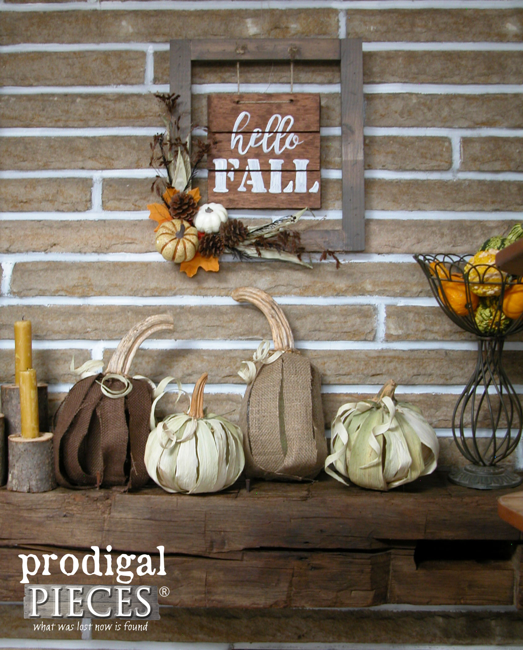 Rustic Mantelscape with DIY Corn Husk & Burlap Pumpkins | Prodigal Pieces | www.prodigalpieces.com
