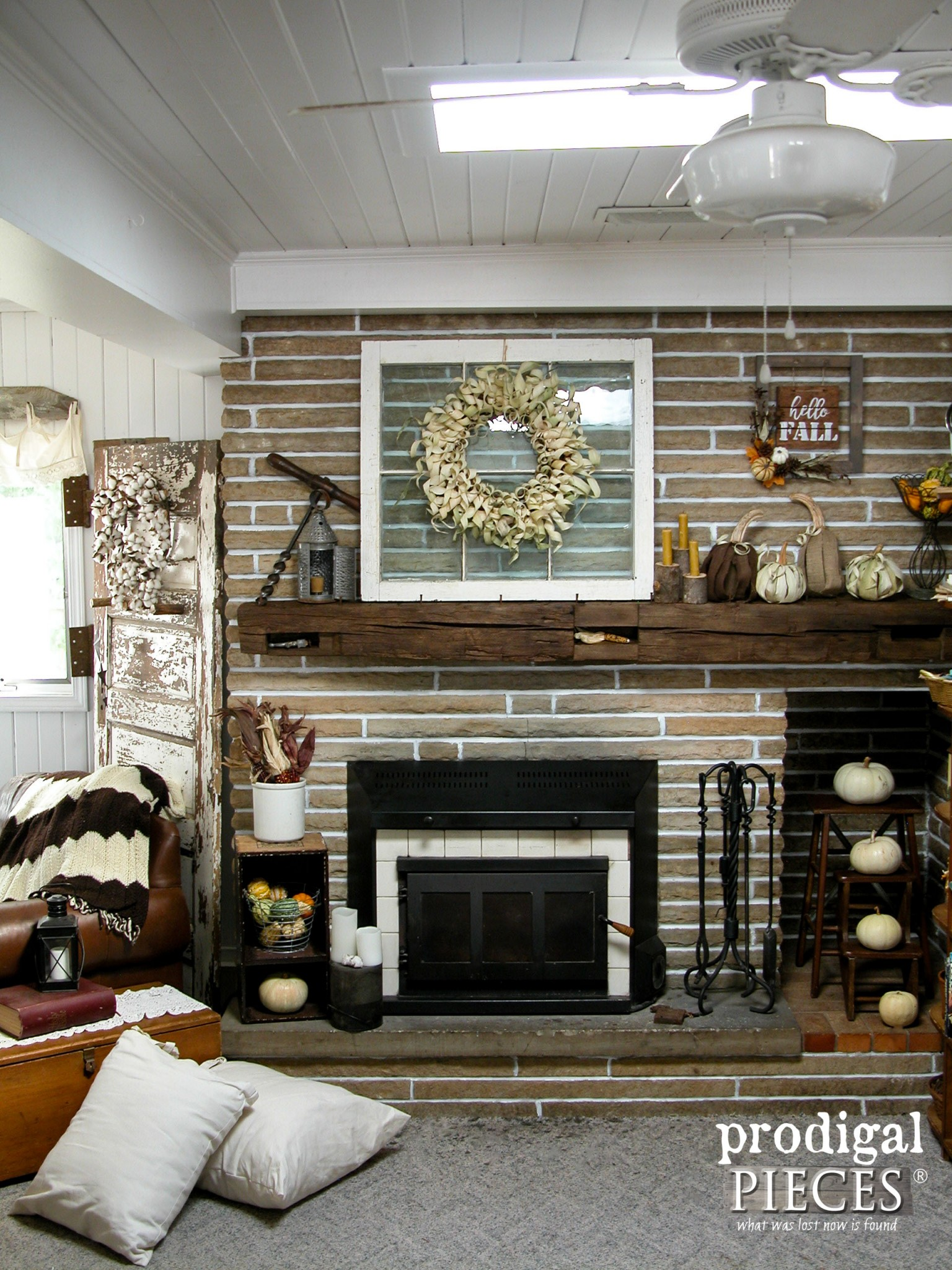 Farmhouse Style Fall Fireplace Mantel Decor by Prodigal Pieces | www.prodigalpieces.com