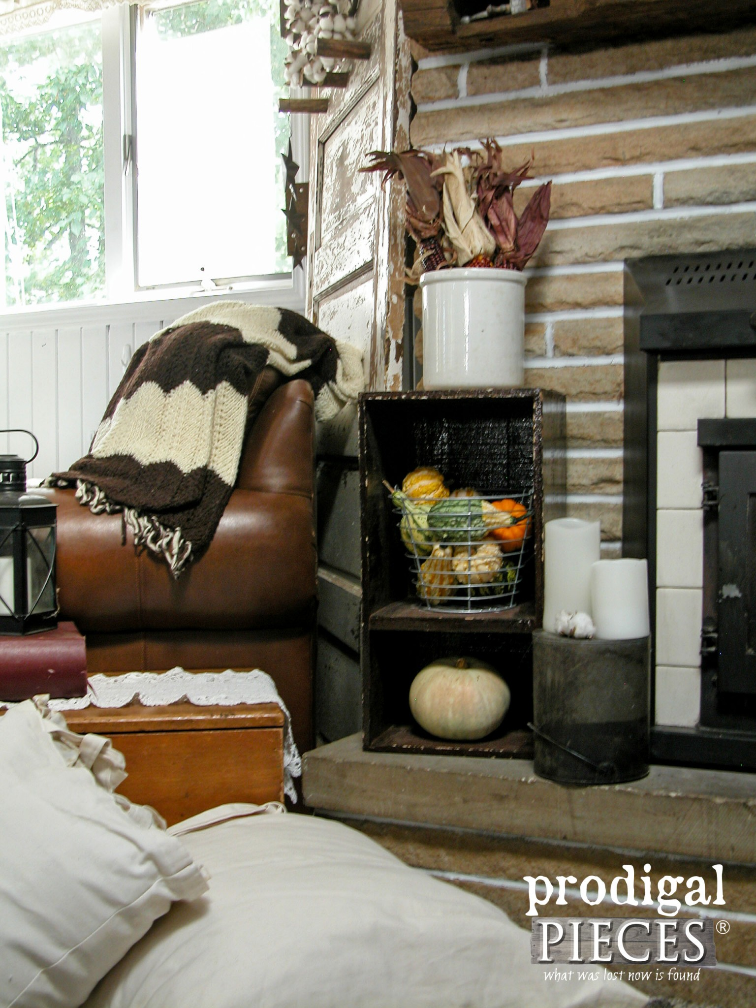 Rustic Fall Farmhouse Fireplace Hearth by Prodigal Pieces | www.prodigalpieces.com