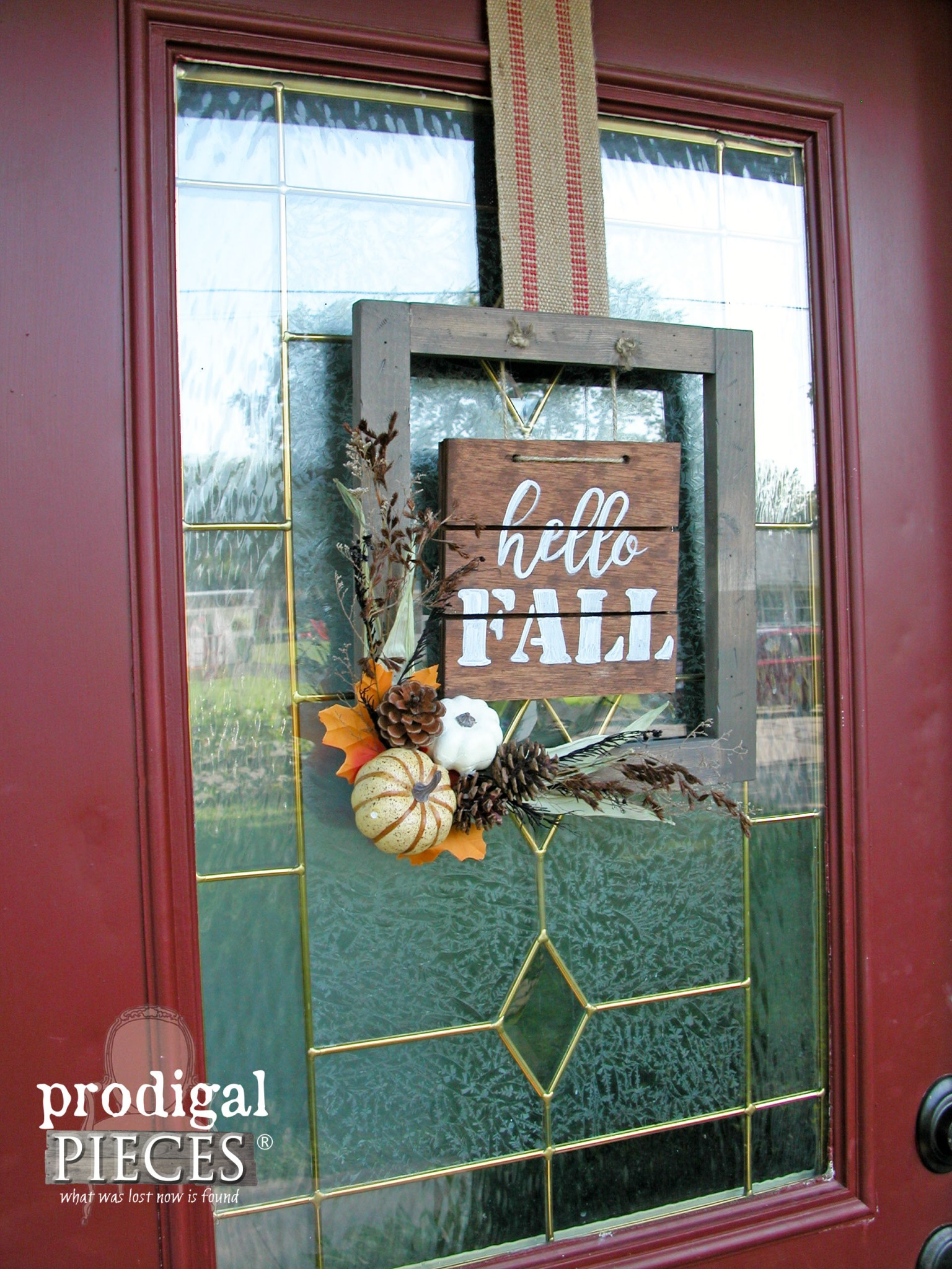 Hello Fall on Front Door | DIY Tutorial by Prodigal Pieces | www.prodigalpieces.com