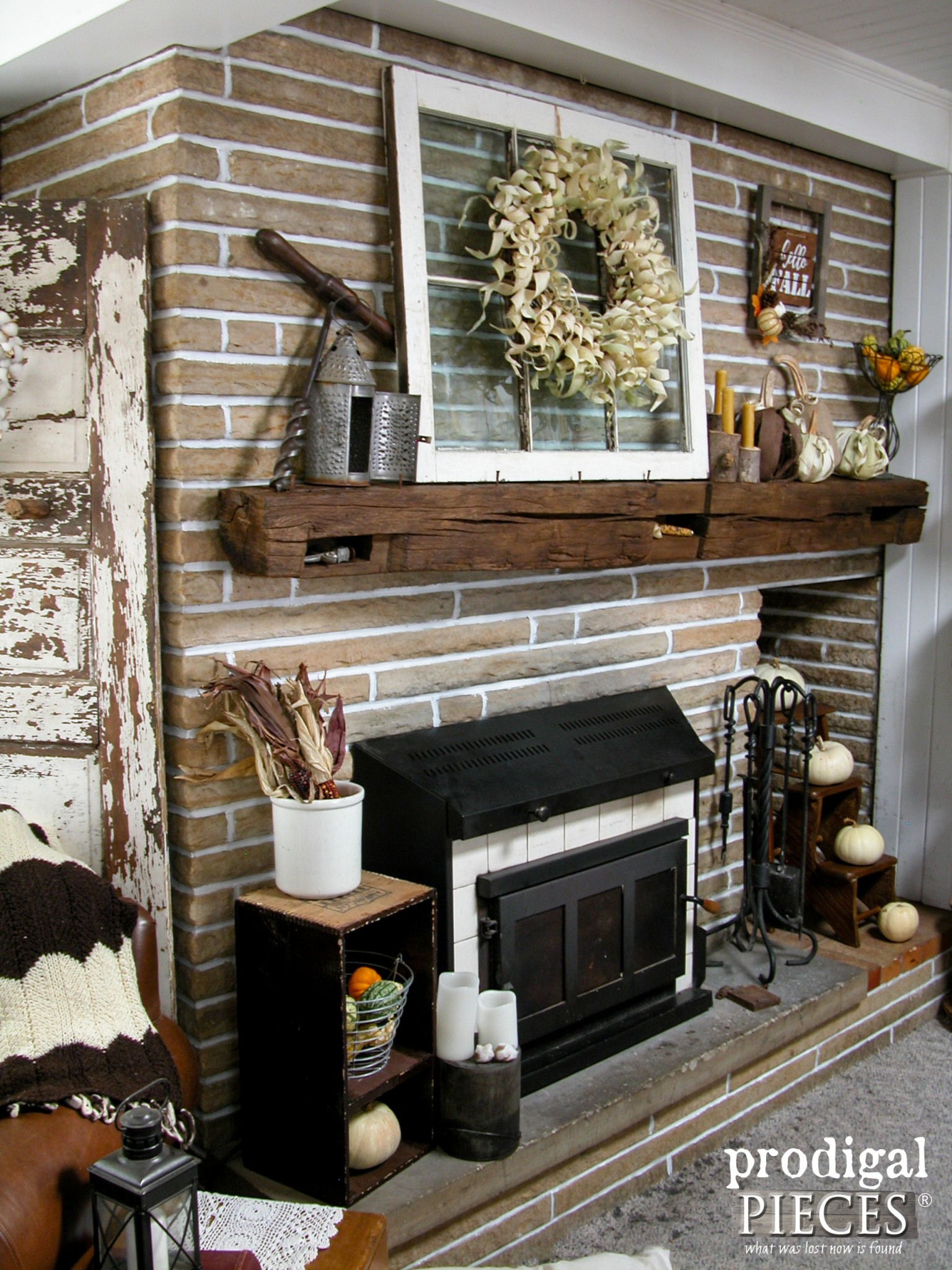 Farmhouse Style Rustic Fall Mantel by Prodigal Pieces | www.prodigalpieces.com