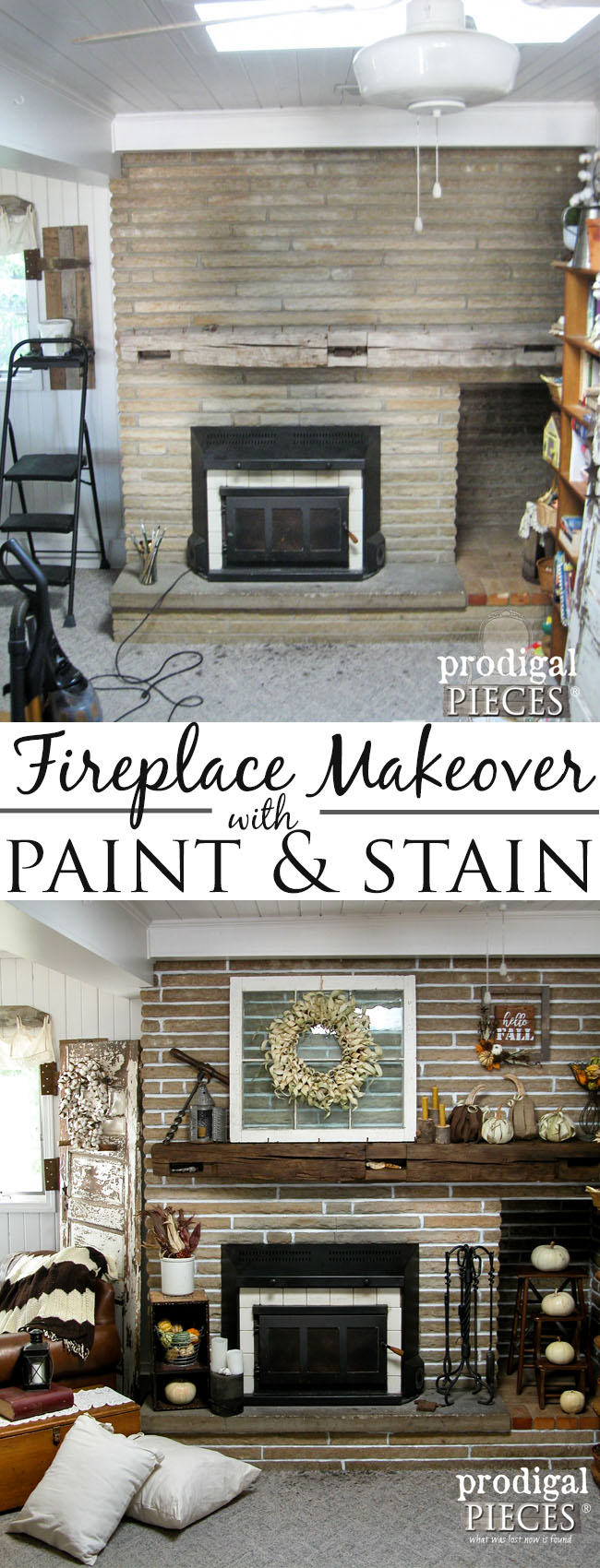 Farmhouse Fireplace Mantel Makeover with Paint & Stain by Prodigal Pieces | www.prodigalpieces.com