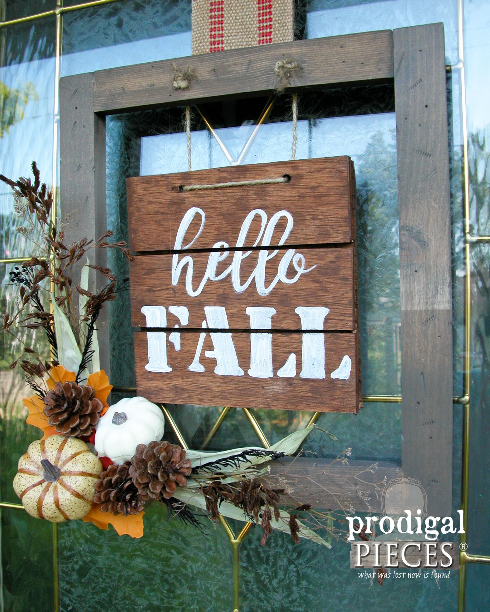 Side View of Hello Fall Sign on Front Door | DIY Tutorial by Prodigal Pieces | www.prodigalpieces.com