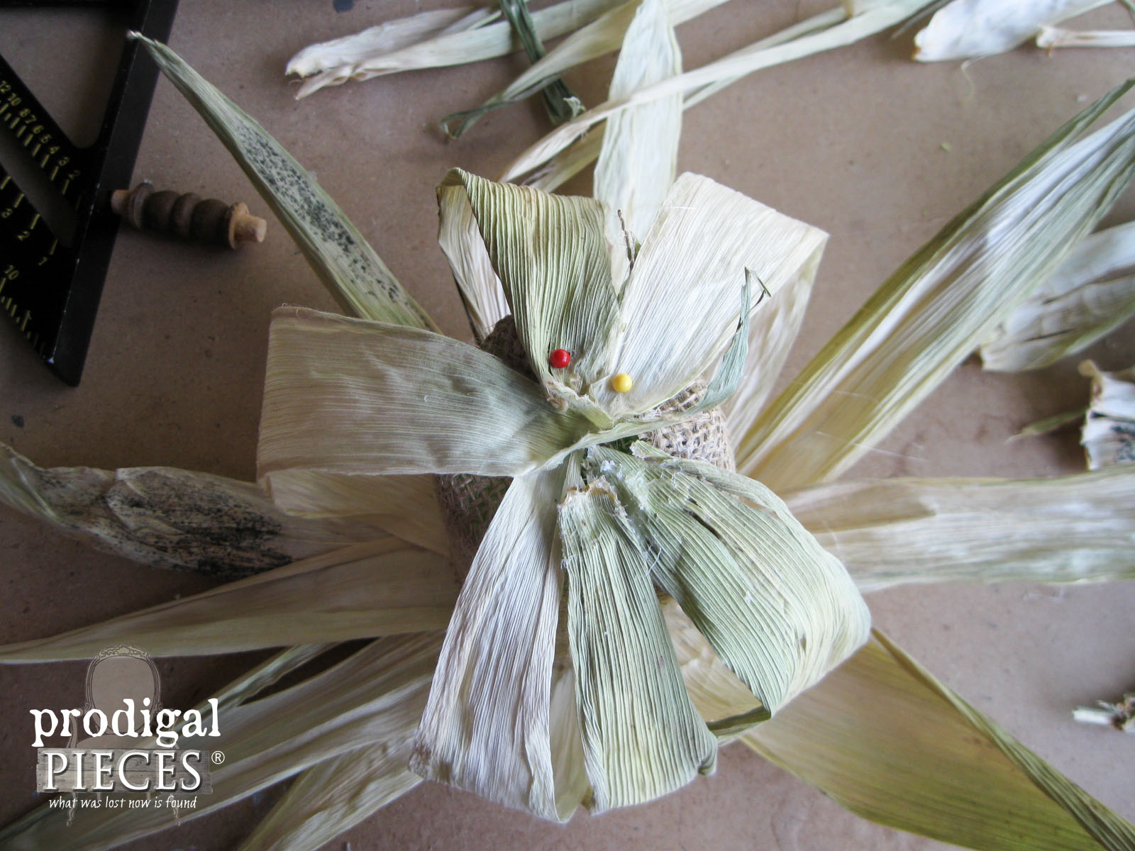 Gluing Corn Husk to make Rustic Pumpkin | Prodigal Pieces | www.prodigalpieces.com
