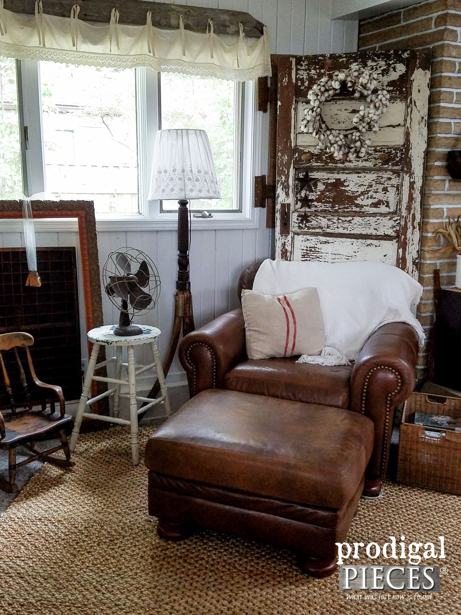Leather Chair and Ottoman in Eclectic Farmhouse Style Family Room | Prodigal Pieces | www.prodigalpieces.com